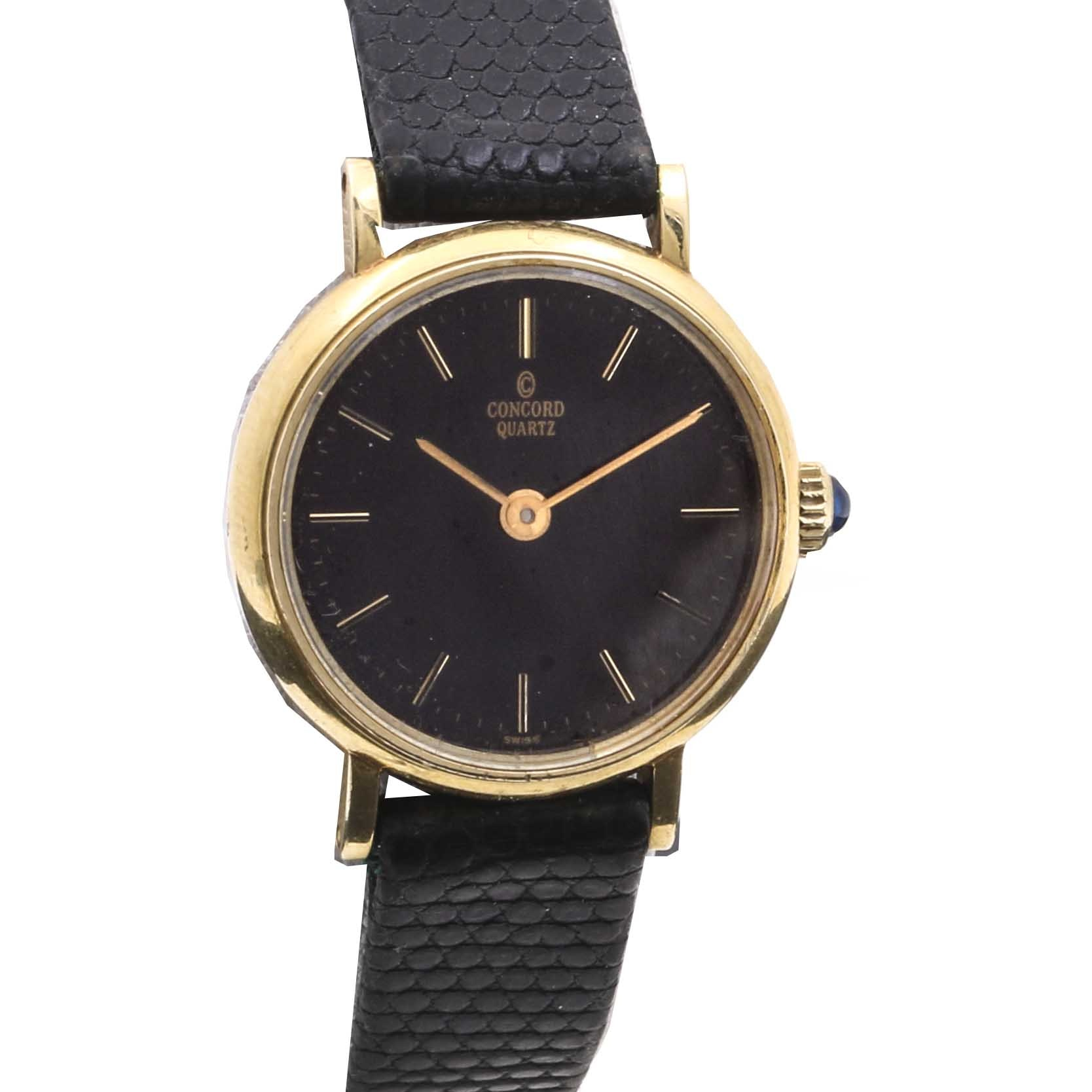 Concord 14K Yellow Gold Black Leather Wristwatch