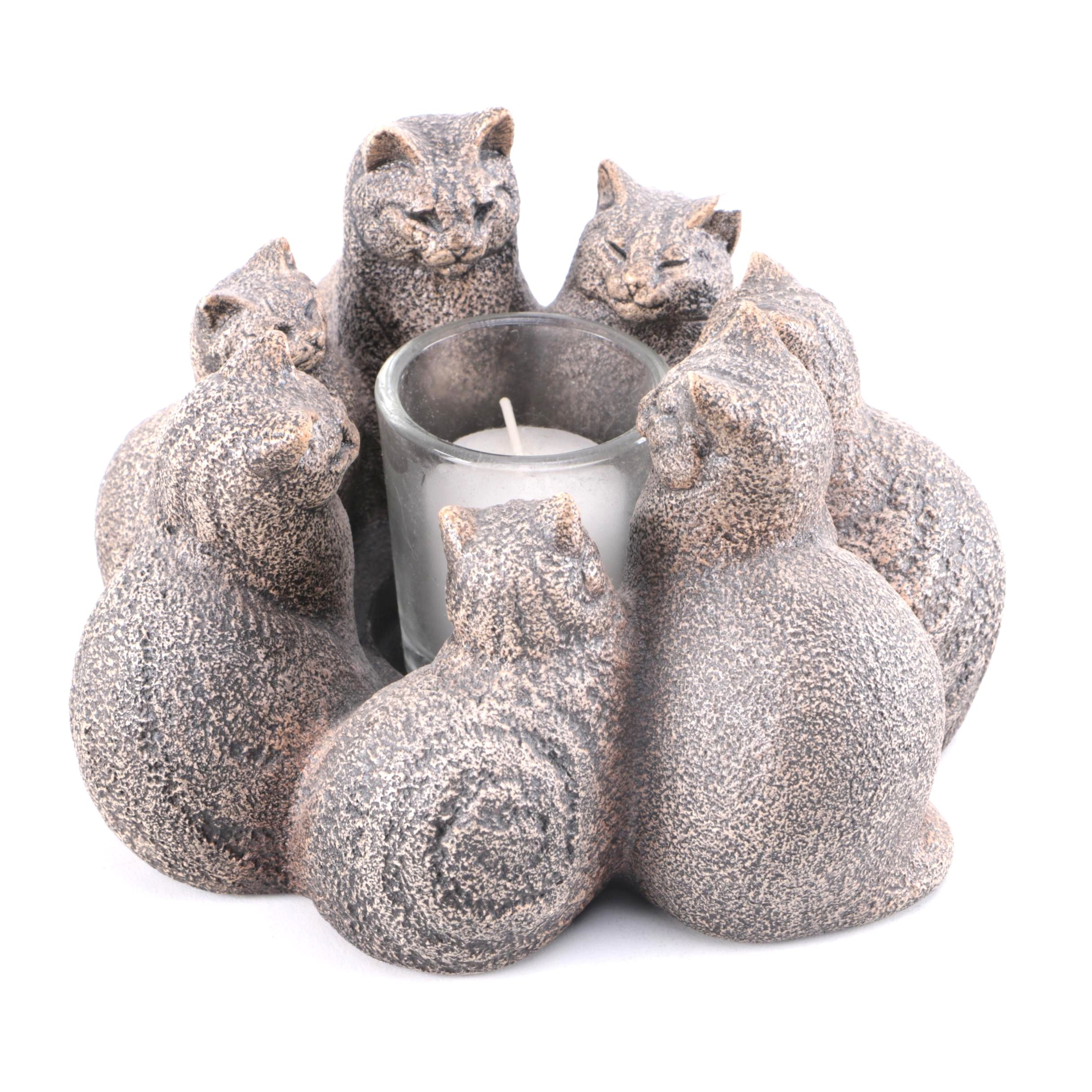 After Melody Peña Resin Votive Candle Holder With Circle of Cats
