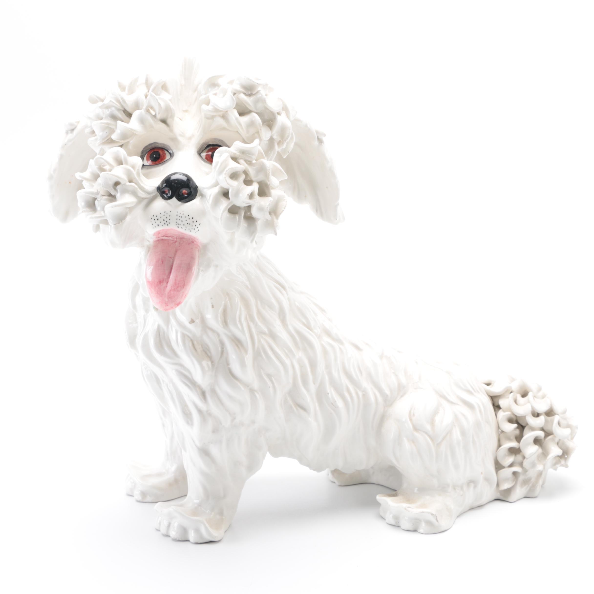 White Ceramic Dog Figurine