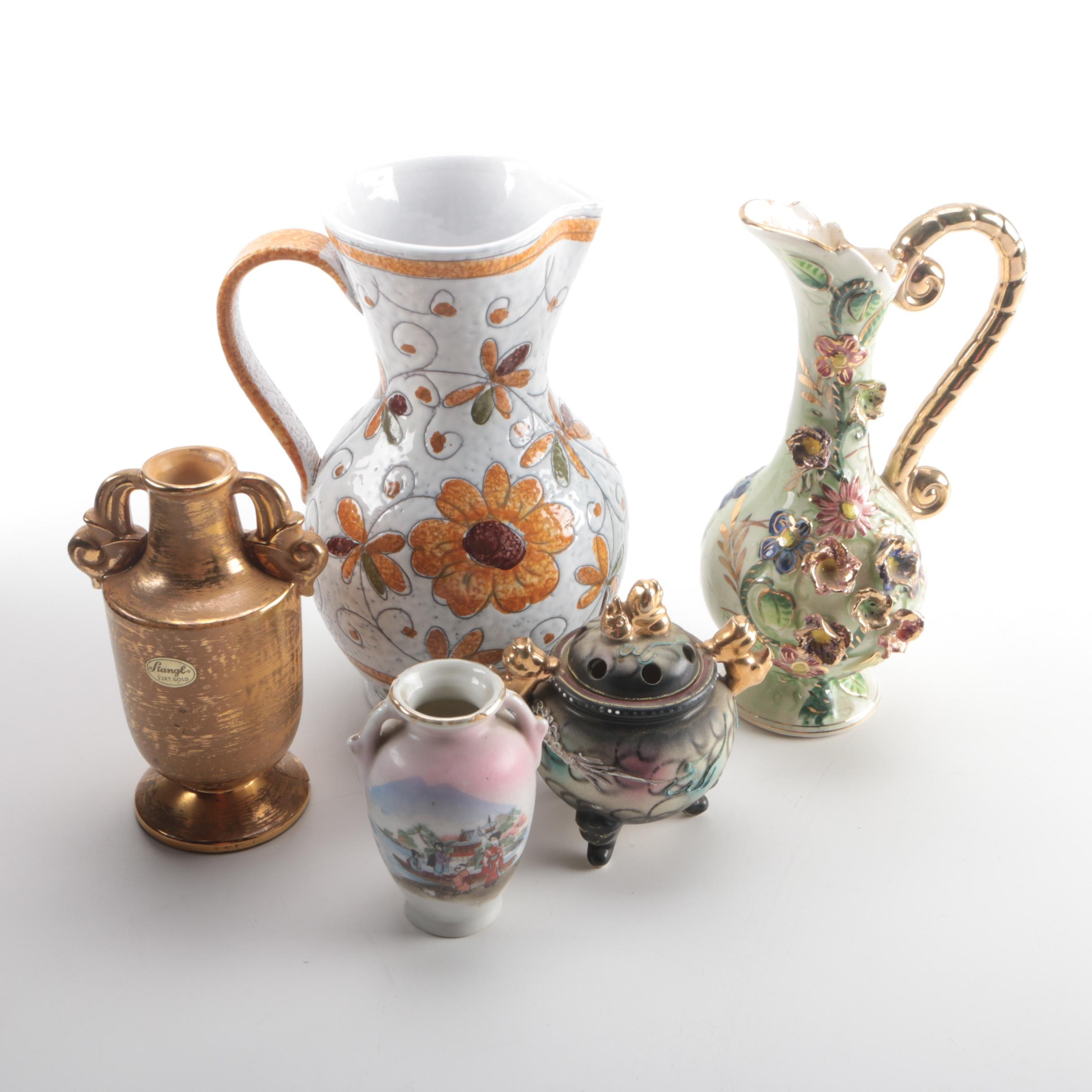 Collection of Floral Vases, Urns and Pitchers Including Stangl