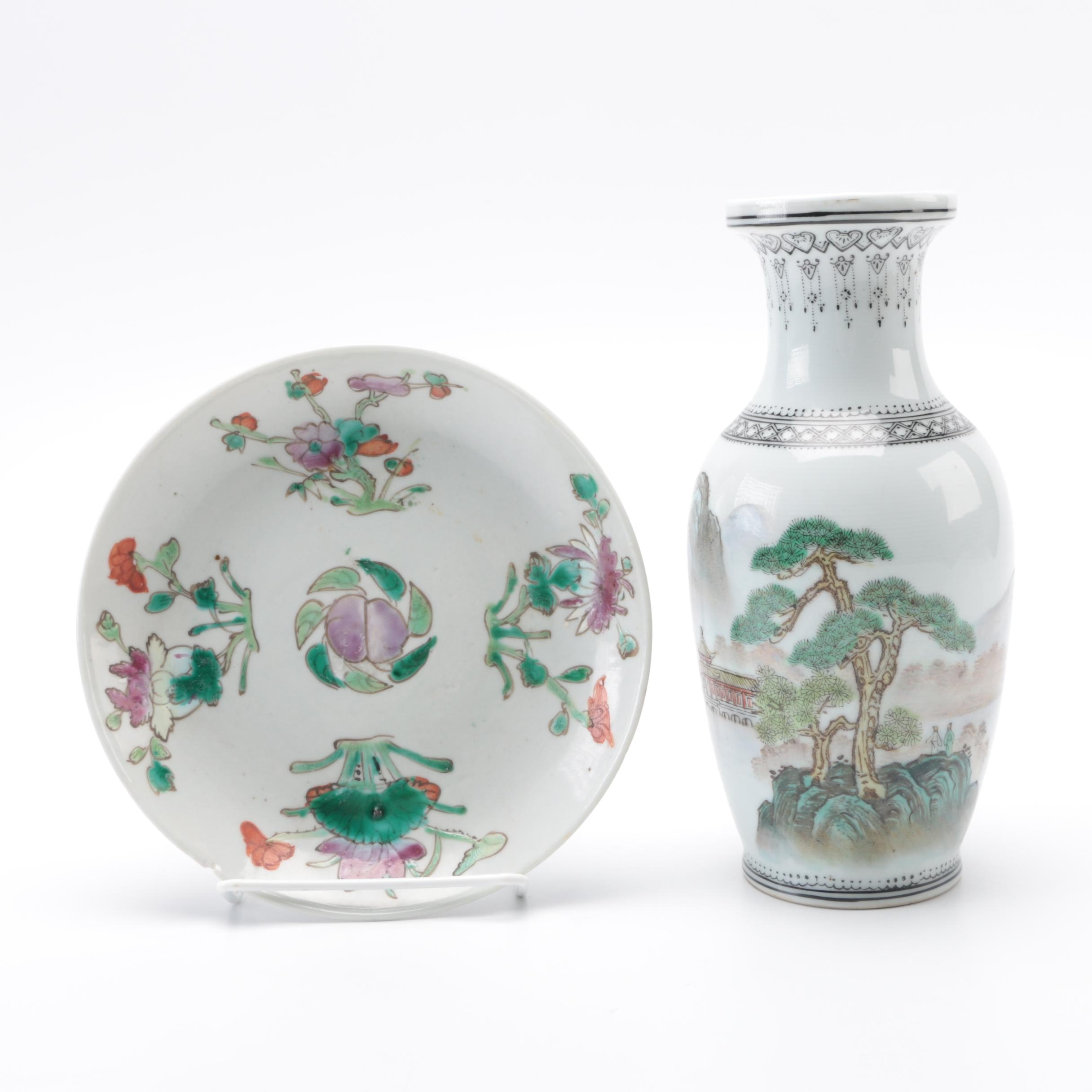 Hand-Painted Floral Vase and Dish