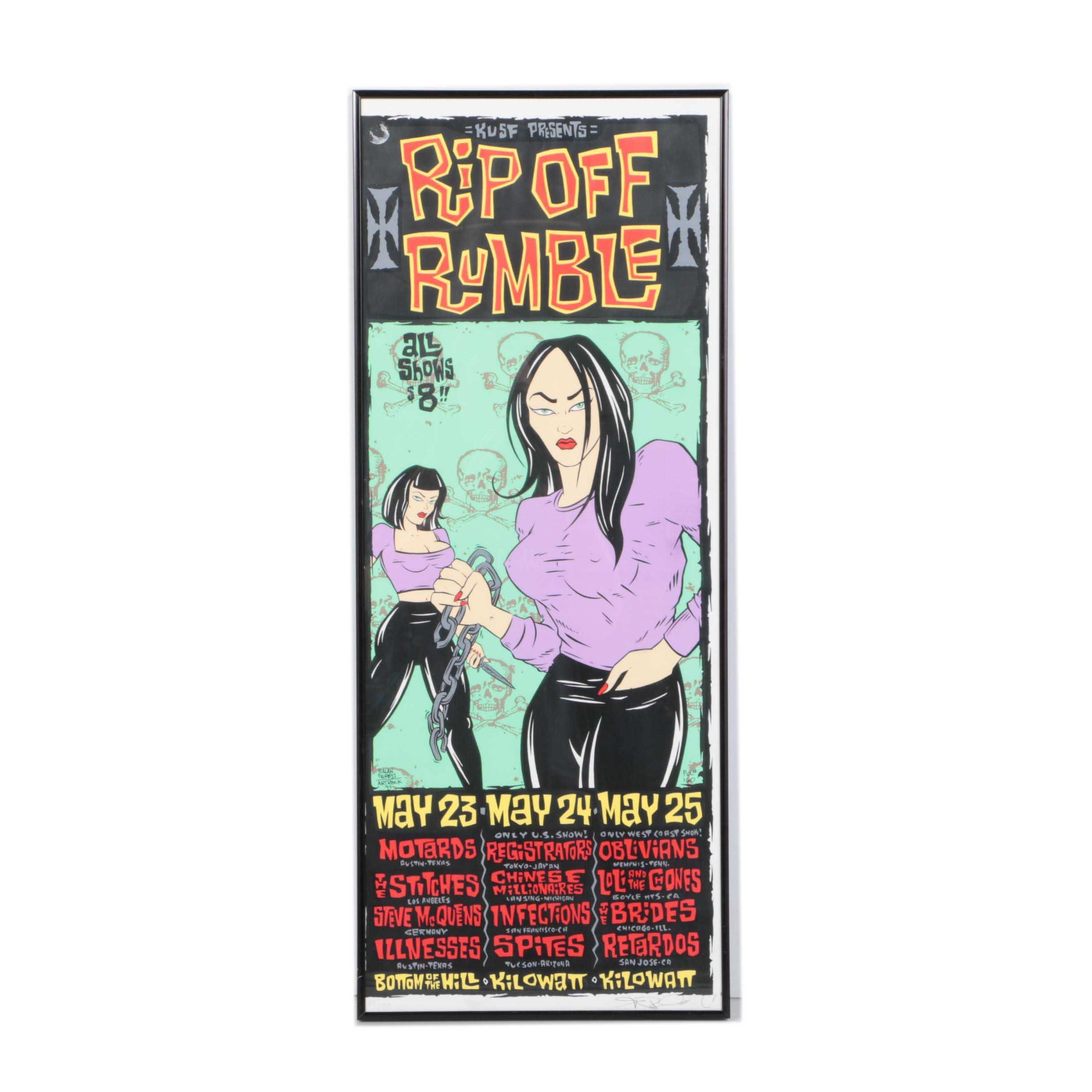 """Signed Limited Edition Serigraph """"Rip Off Rumble"""" Handbill"""