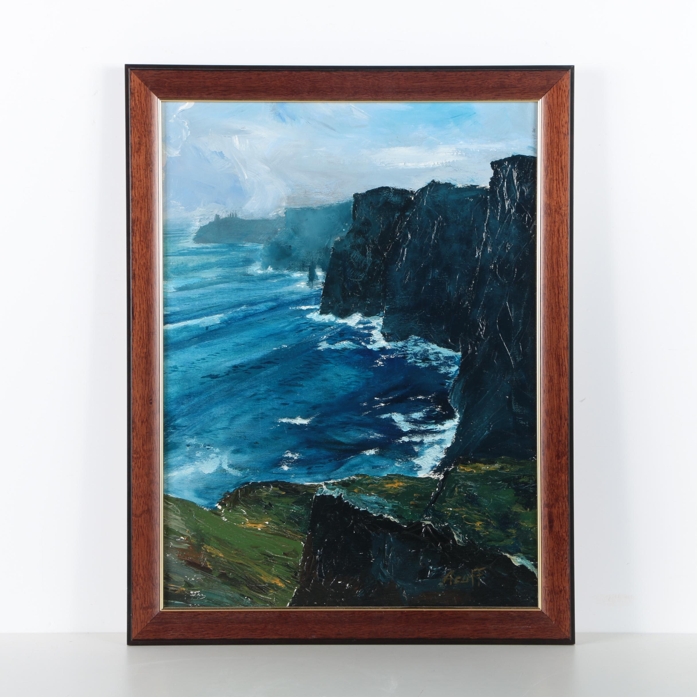 Acrylic Painting on Canvas of a Cliff Shore