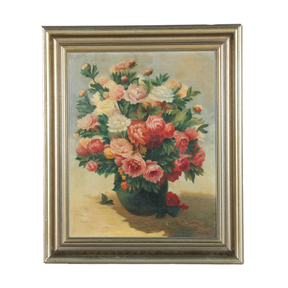 W. Kruse Early 20th Century  Oil Painting on Canvas Floral Still Life