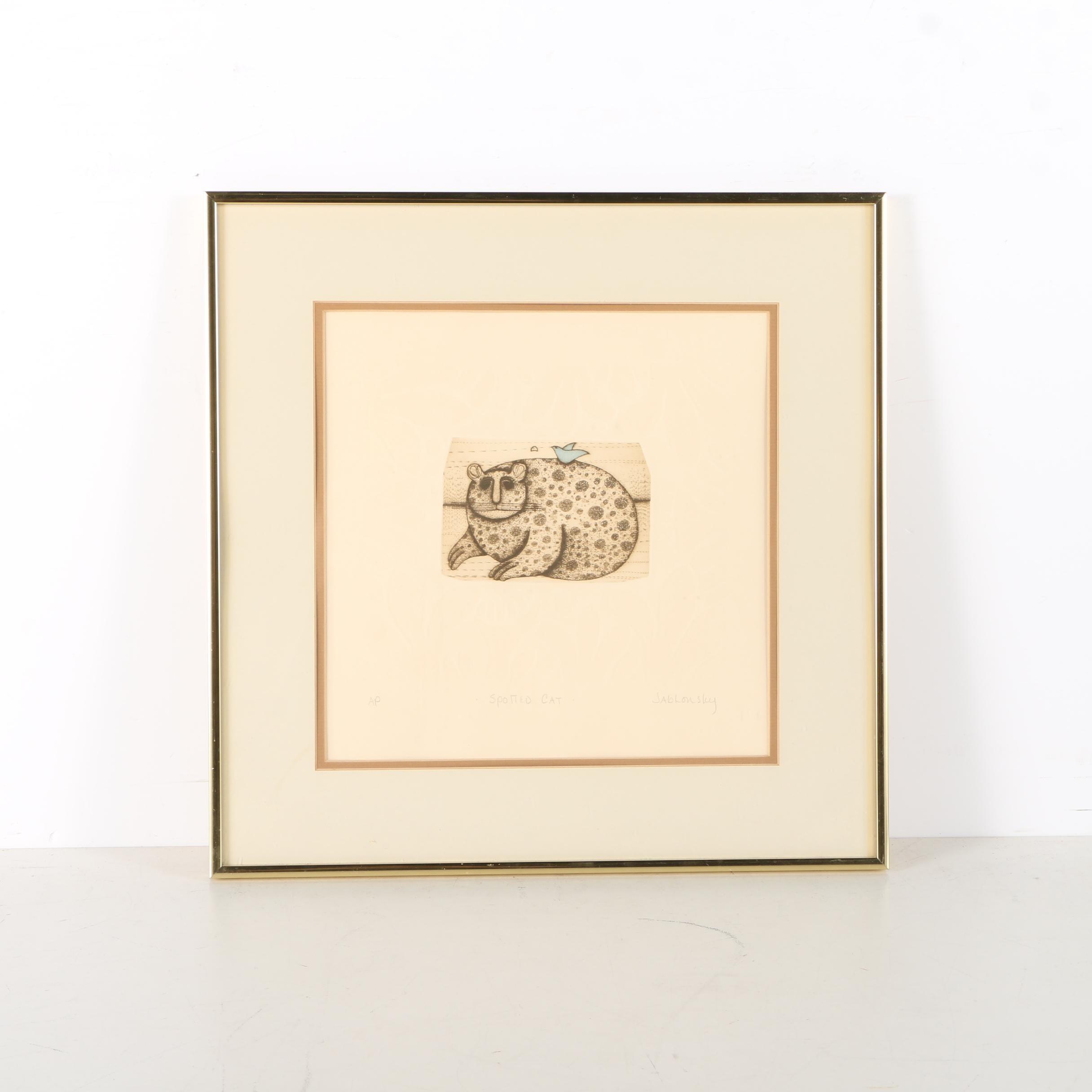 "Carol Jablonsky Artist Proof Embossed Etching ""Spotted Cat"""