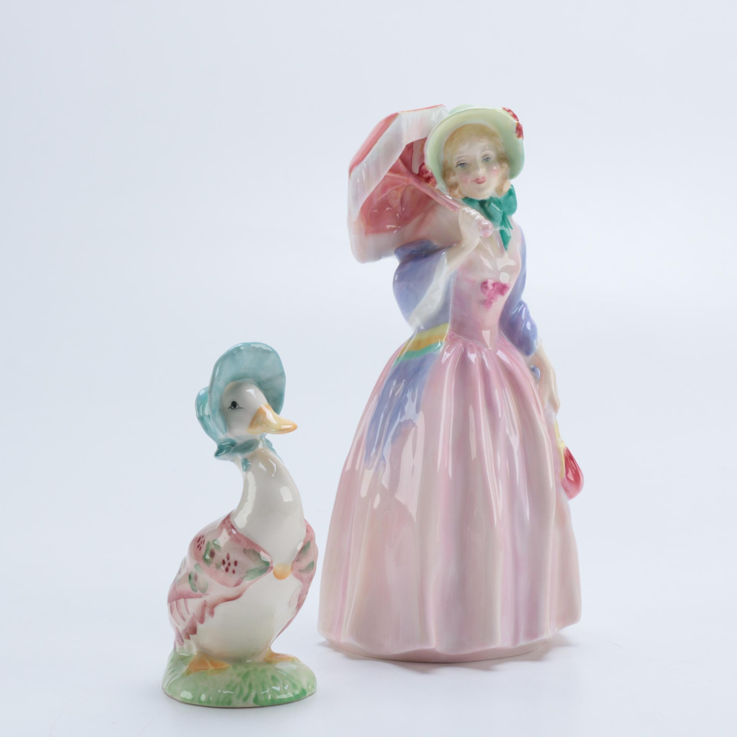 Figurines Including Royal Albert Beatrix Potter and Royal Doulton Lady