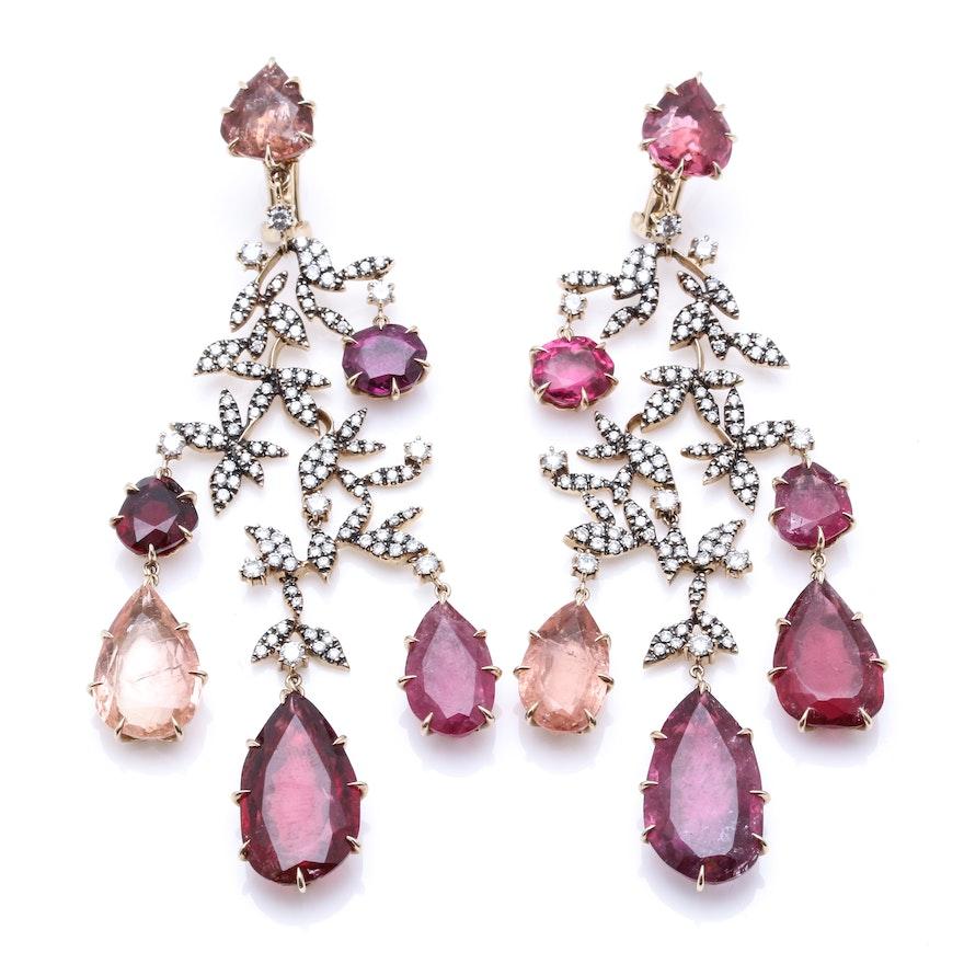 583911862 H. Stern 18K Yellow Gold 52.51 CTW Tourmaline and 3.27 CTW Diamond Earrings  | EBTH