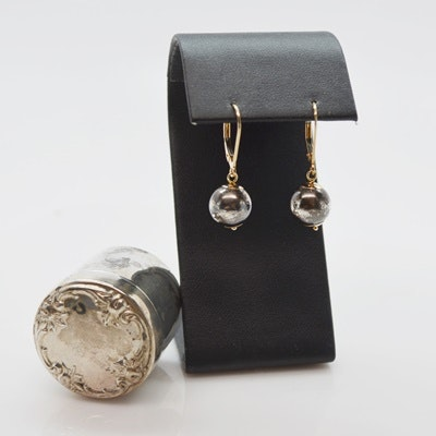 14K Yellow Gold and Sterling Silver Pierced Earrings