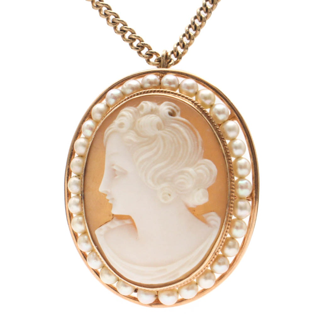 Antique 10K Yellow Gold Shell and Pearl Cameo on 14K Yellow Gold Chain