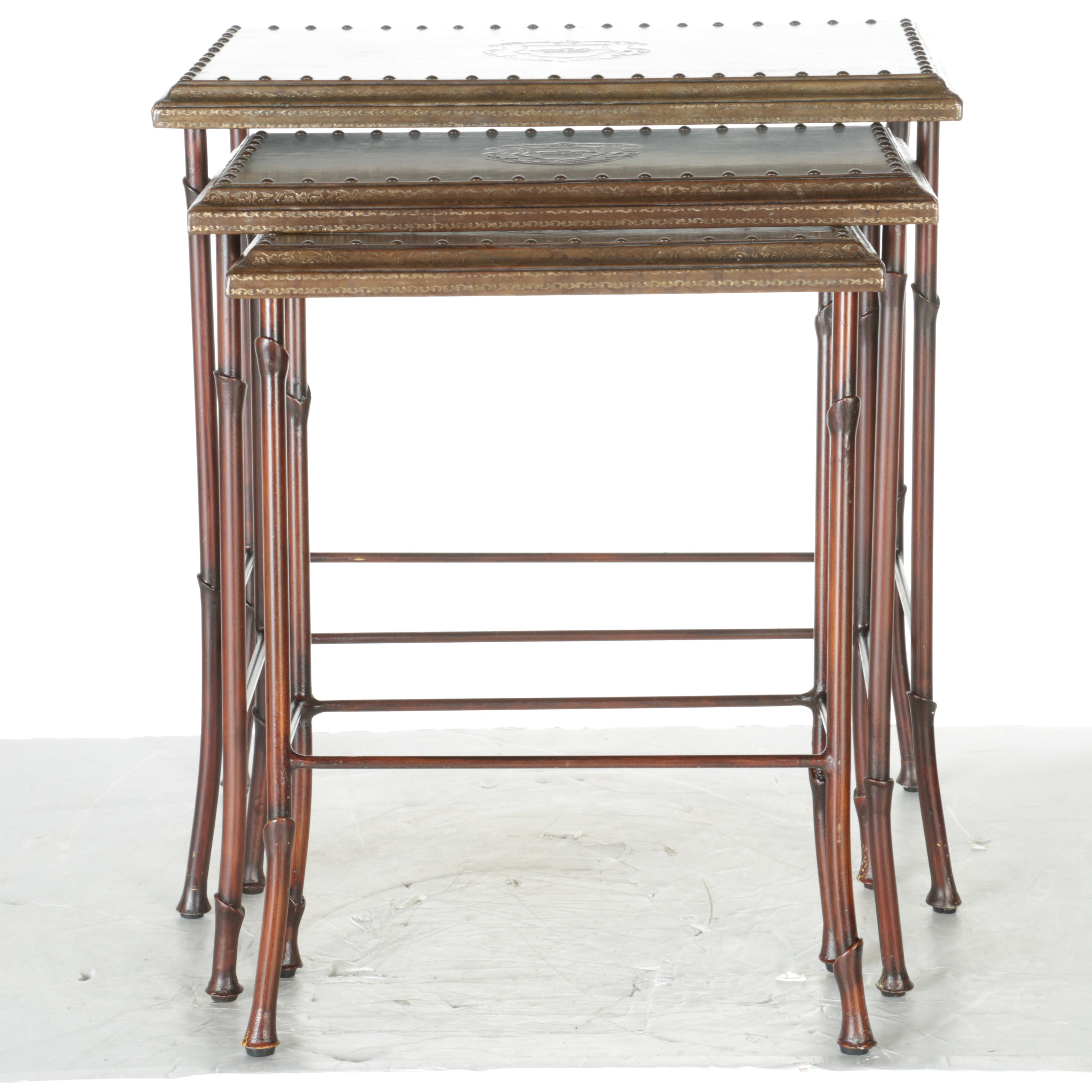Three Wooden Nesting Tables With Leatherette Tops