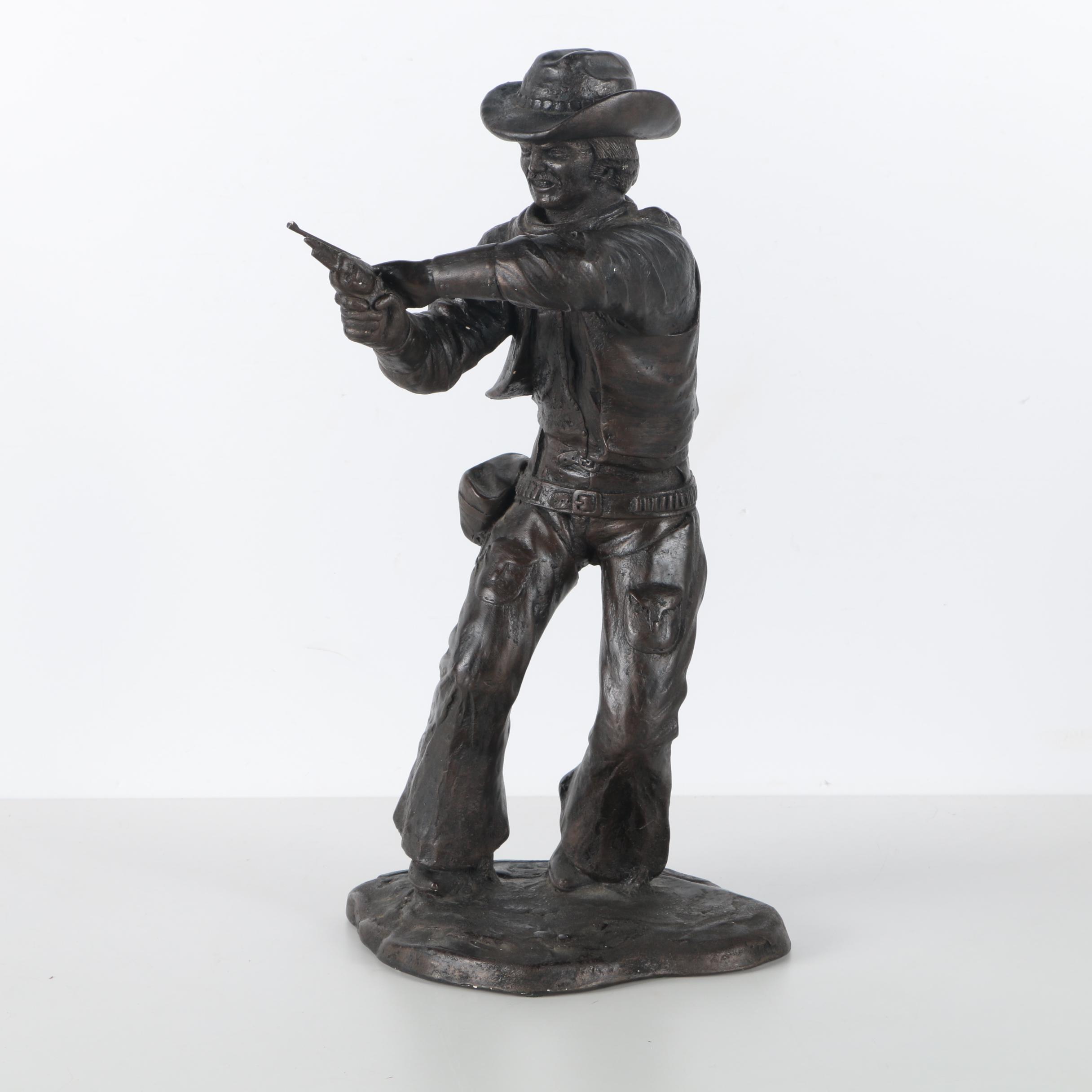 "Cast Resign Reproduction Sculpture ""Gunfighter"""