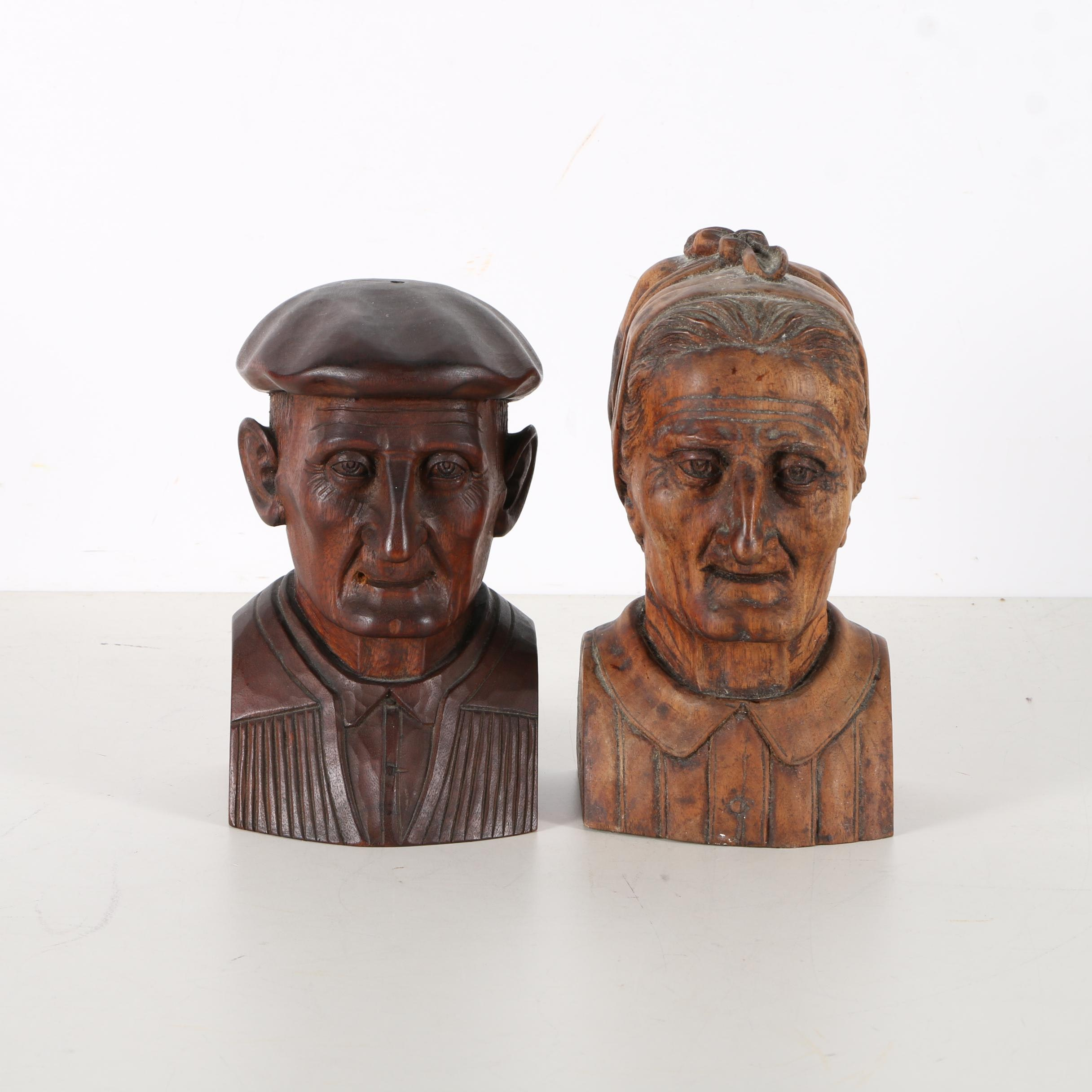 Hand Carved Folk Art Wooden Busts