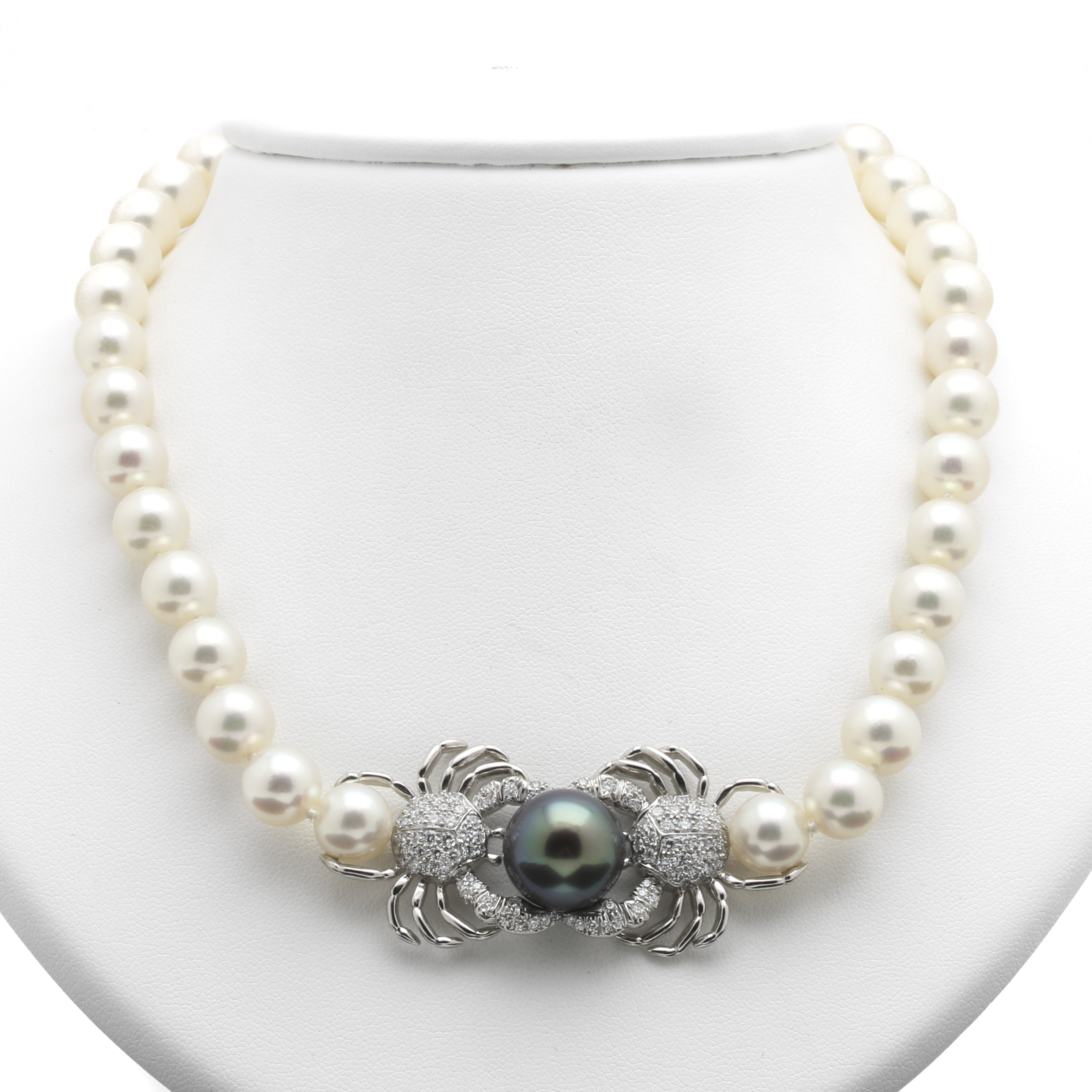 Tiffany & Co. Platinum Tahitian Pearl and 2.08 CTW Diamond Crab Necklace