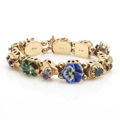14K Yellow Gold Slide Charm Bracelet with Assorted Gemstones and Enamel