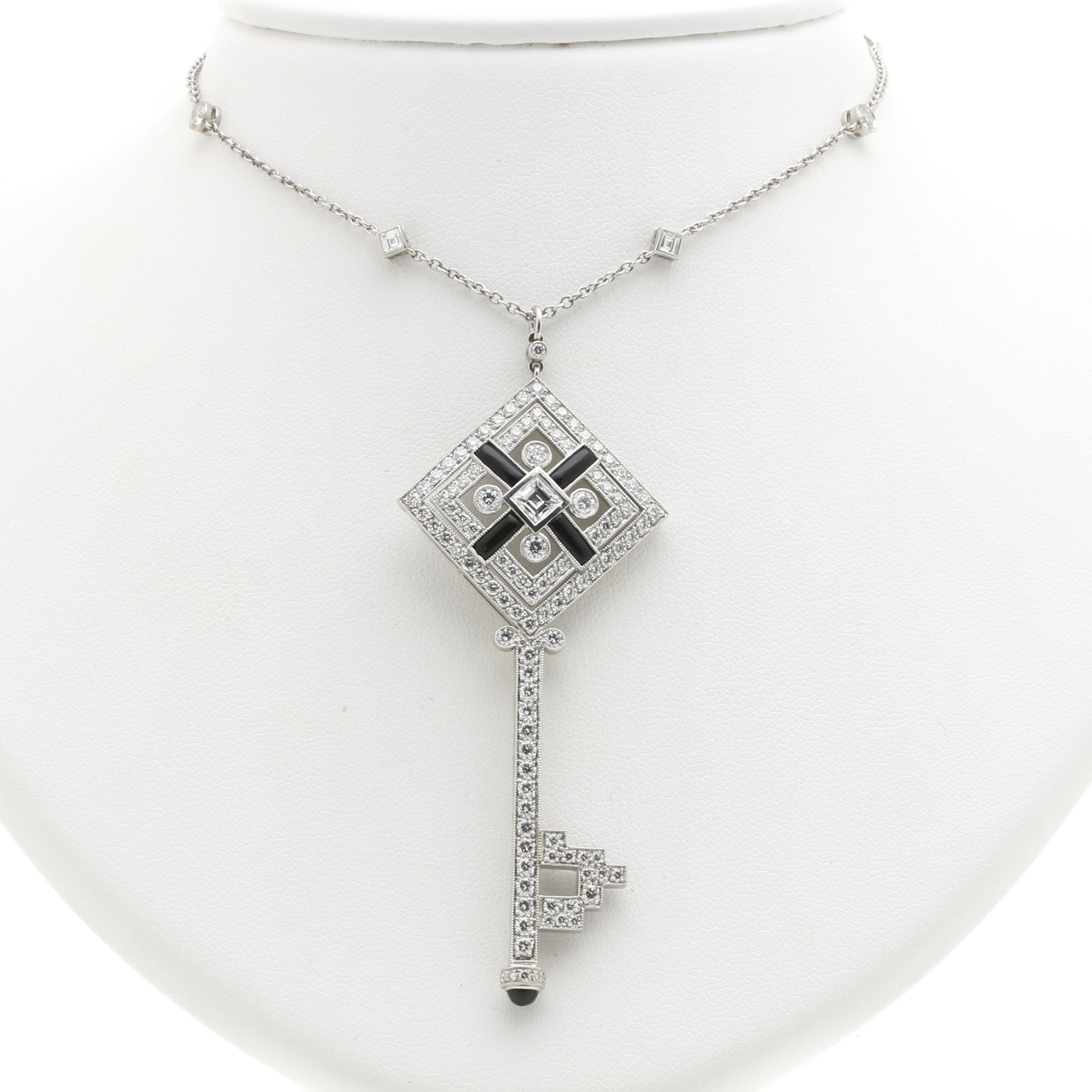 Tiffany & Co. Platinum, Onyx, and 4.46 CTW Diamond Square Key Necklace