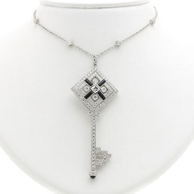 Tiffany & Co. Platinum, Onyx, and 4.46 CTW Diamond Square Key Necklace