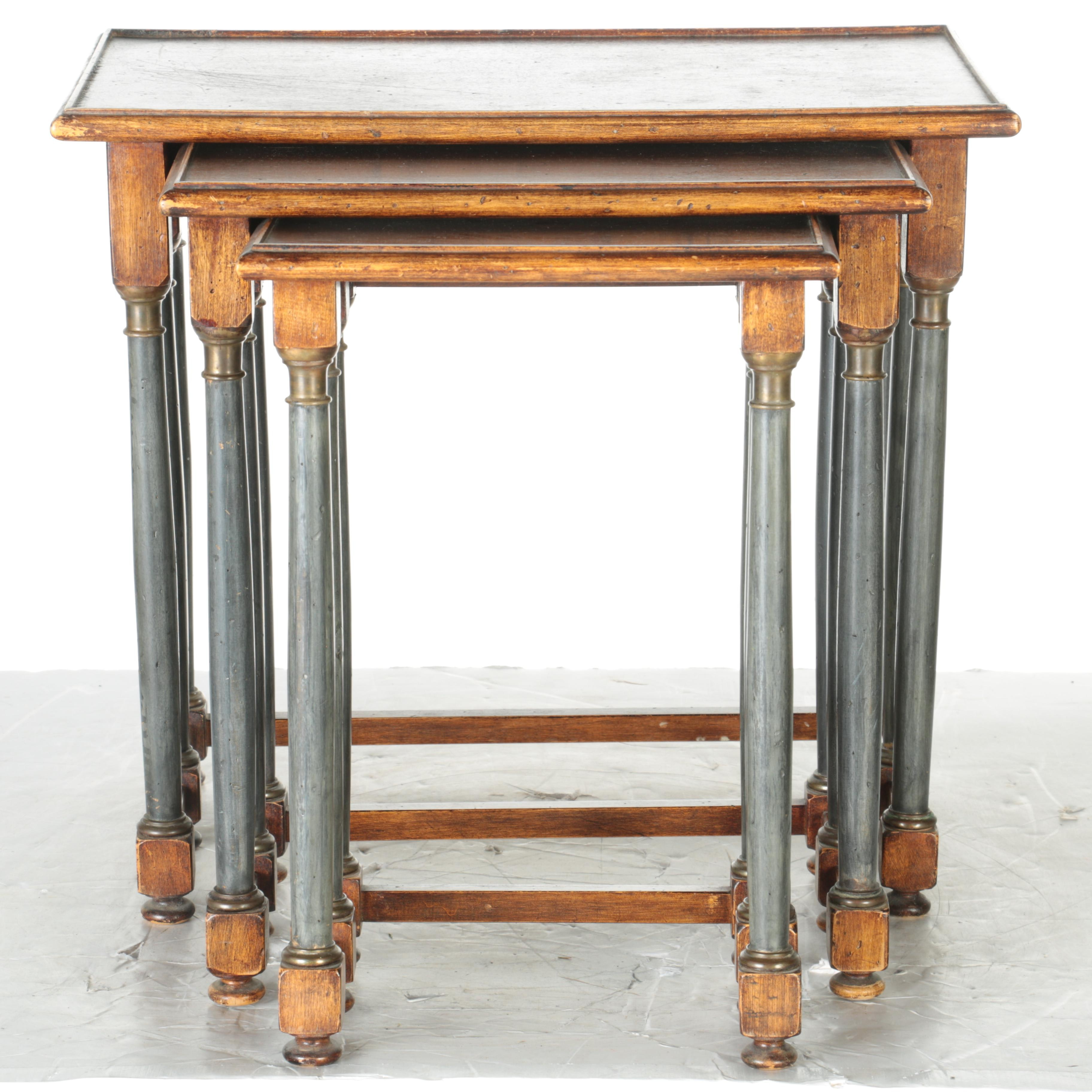 Three Wood and Metal Nesting Tables