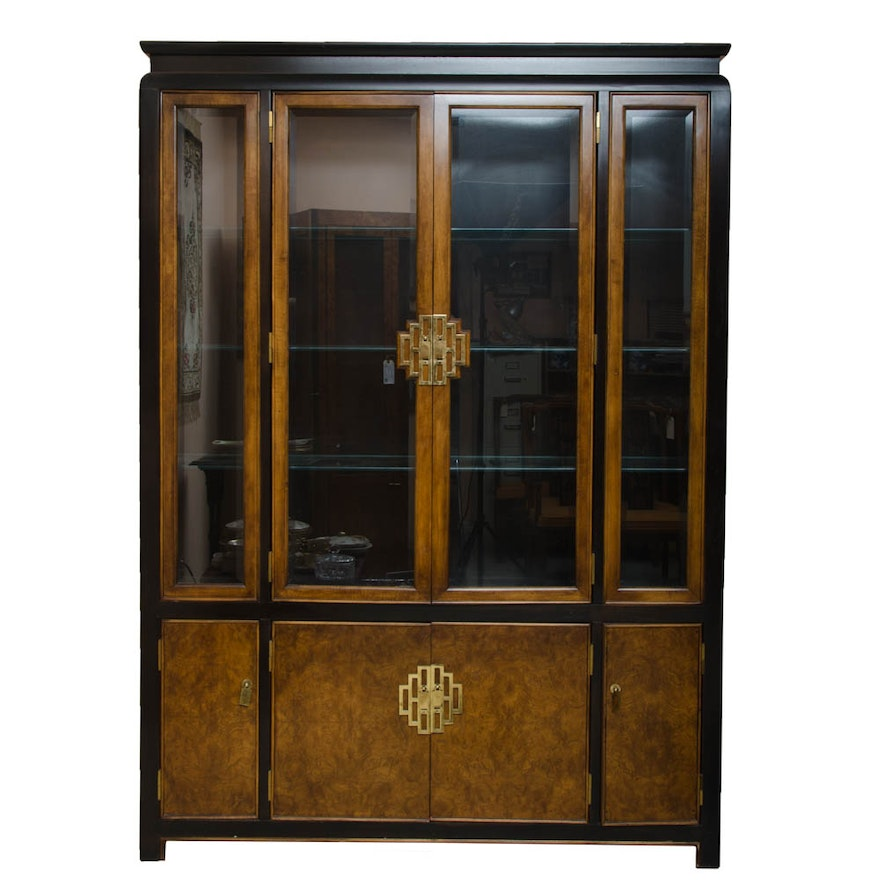 Vintage Chinese Inspired Century Furniture Lighted China Cabinet