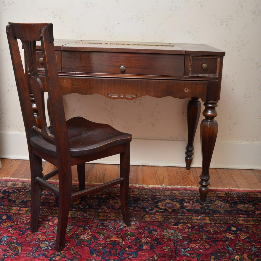 Antique Mahogany Veneer Spinet Desk and Chair ... - Antique Mahogany Veneer Spinet Desk And Chair : EBTH