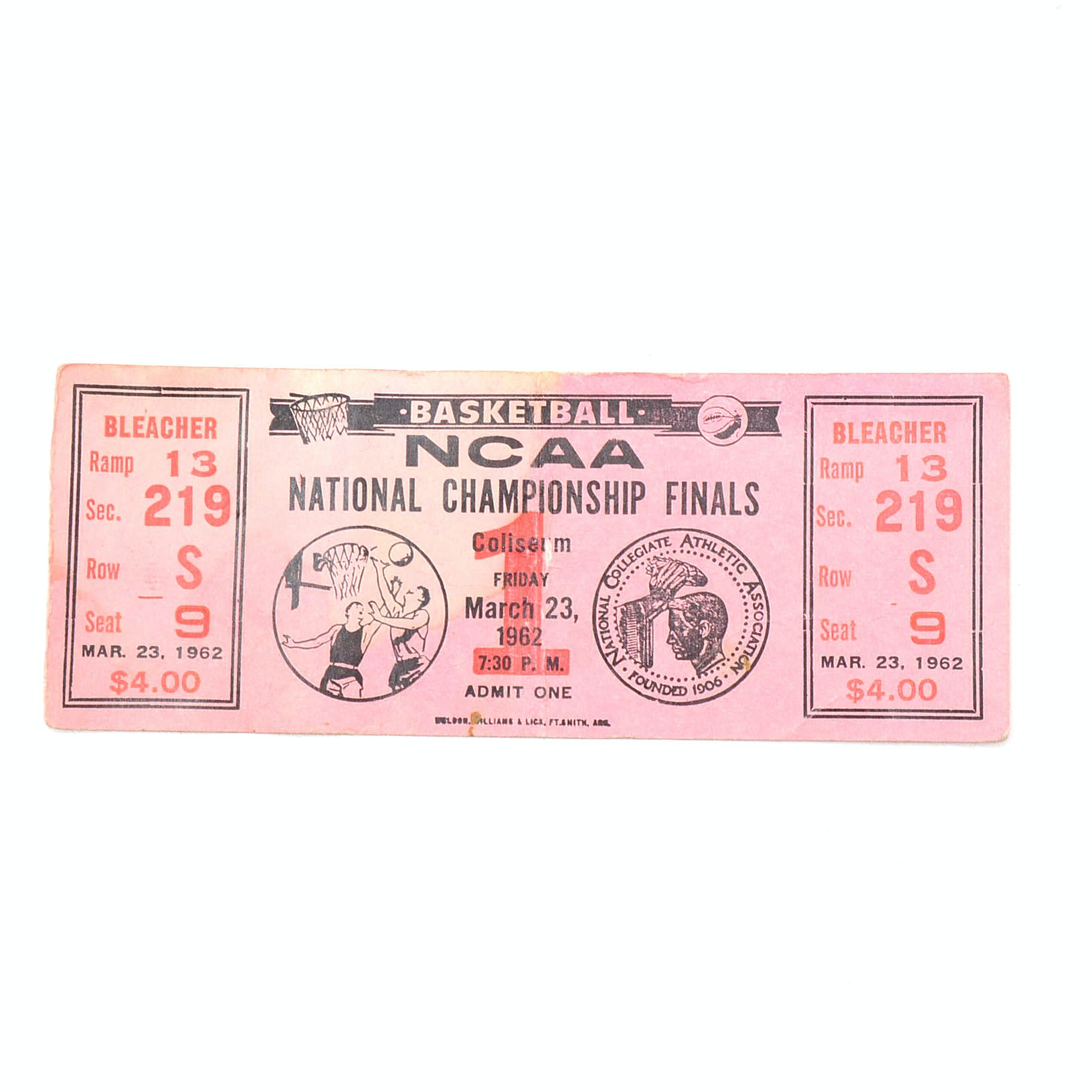 "1962 NCAA ""National Championship Finals"" Full Game Ticket"