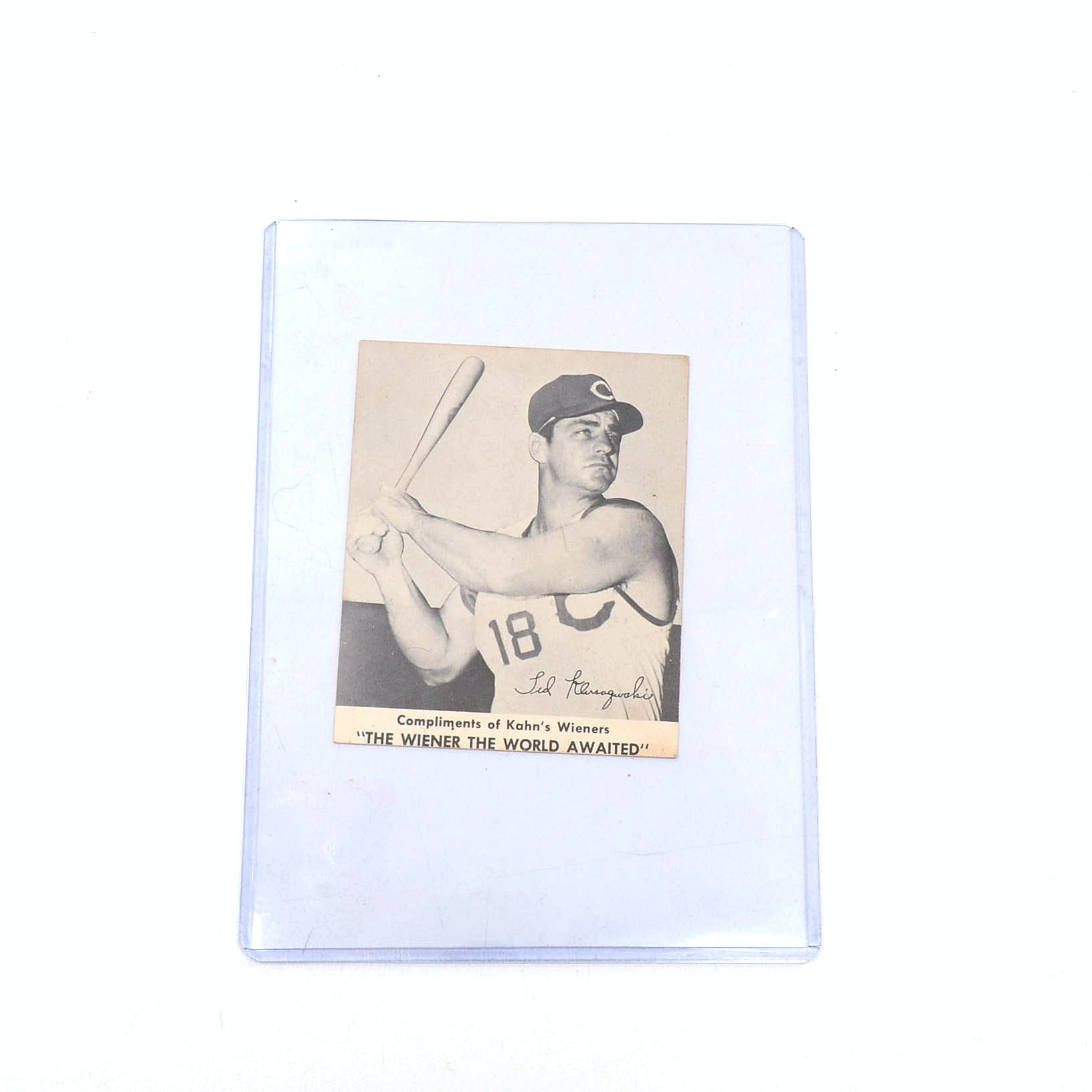 1957 Ted Kluszewski Reds Kahn's Wiener Baseball Card