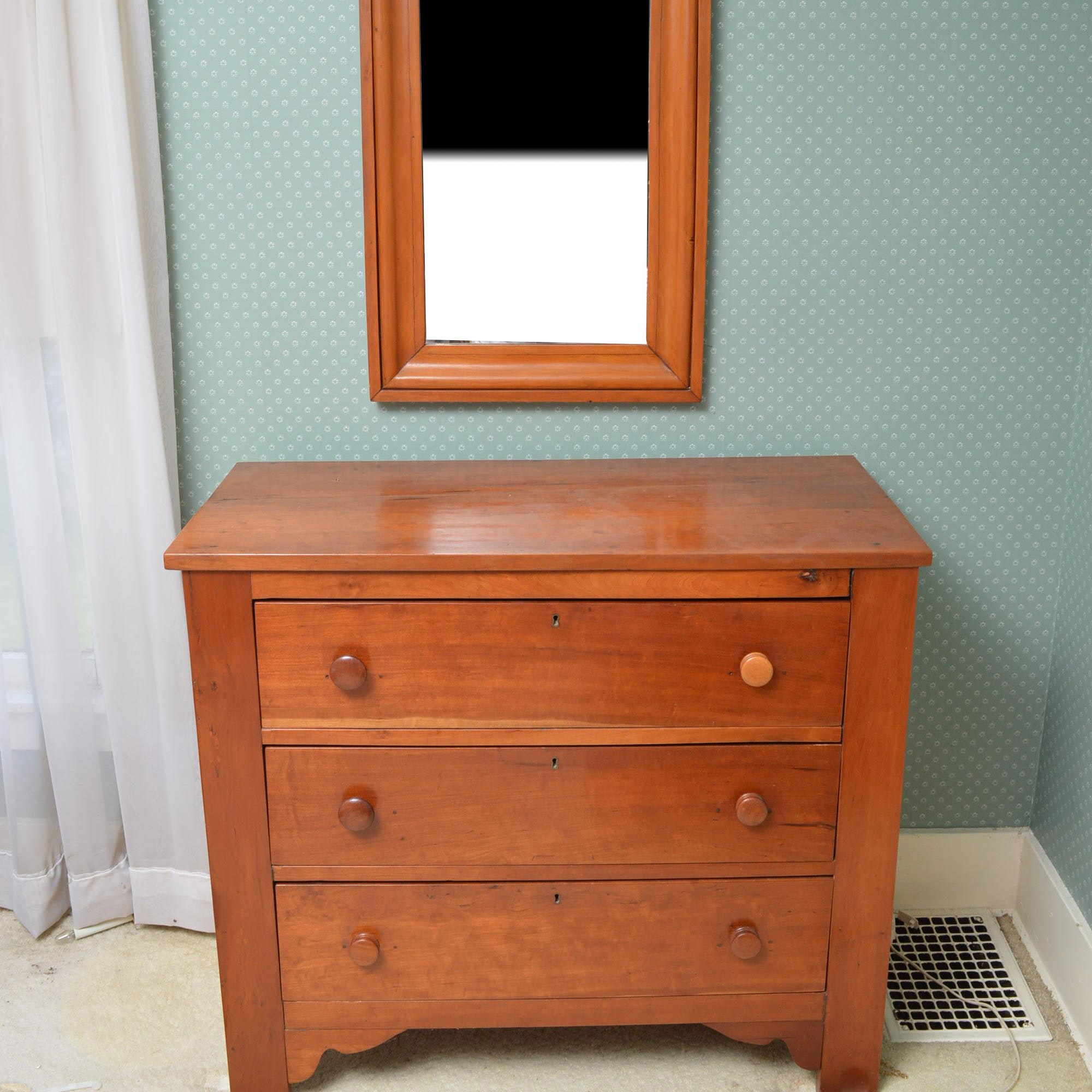 Cherry Chest of Drawers with Wall Mirror