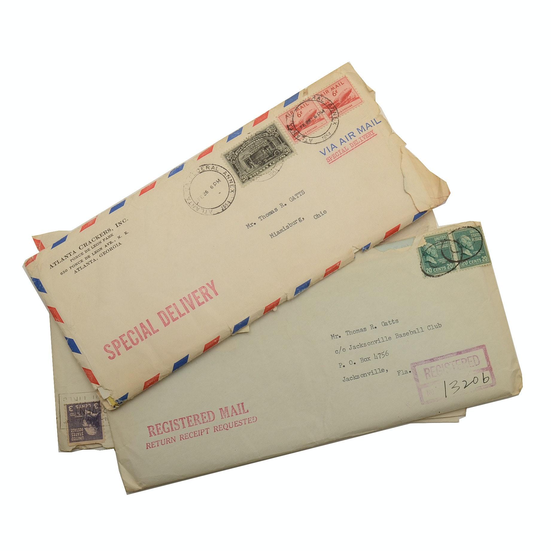 1954 Atlanta Crackers Baseball Letters