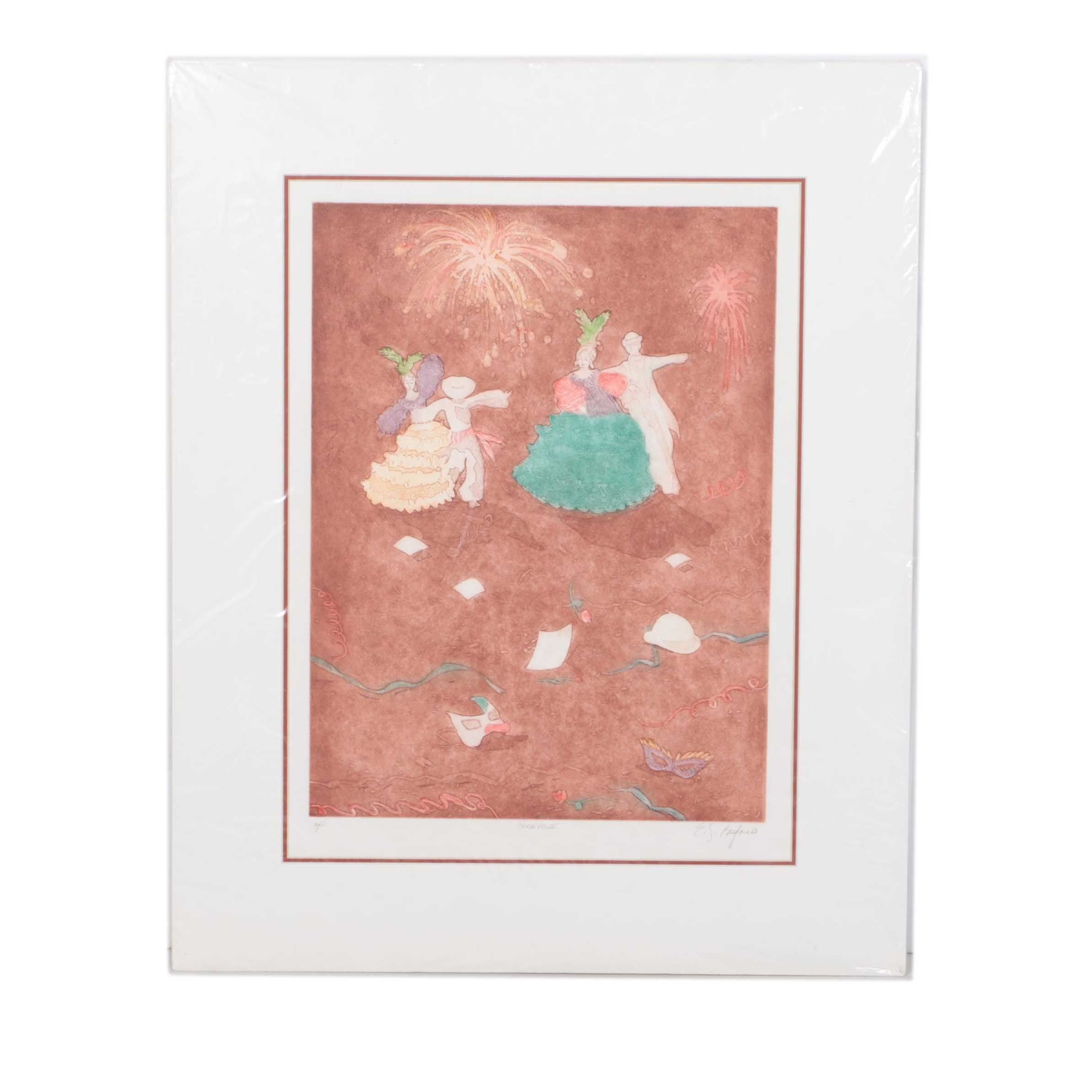 """Buford Artist Proof Aquatint Etching on Paper """"Carnivale"""""""