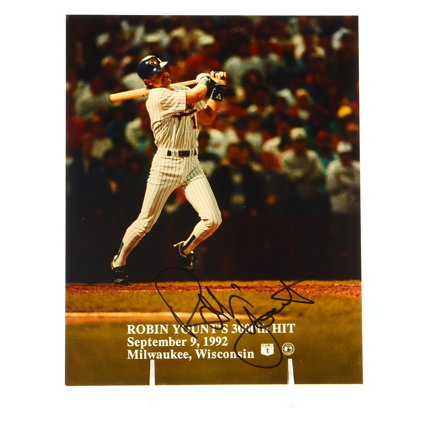 """Robin Yount Signed """"3000th"""" Hit Photo"""