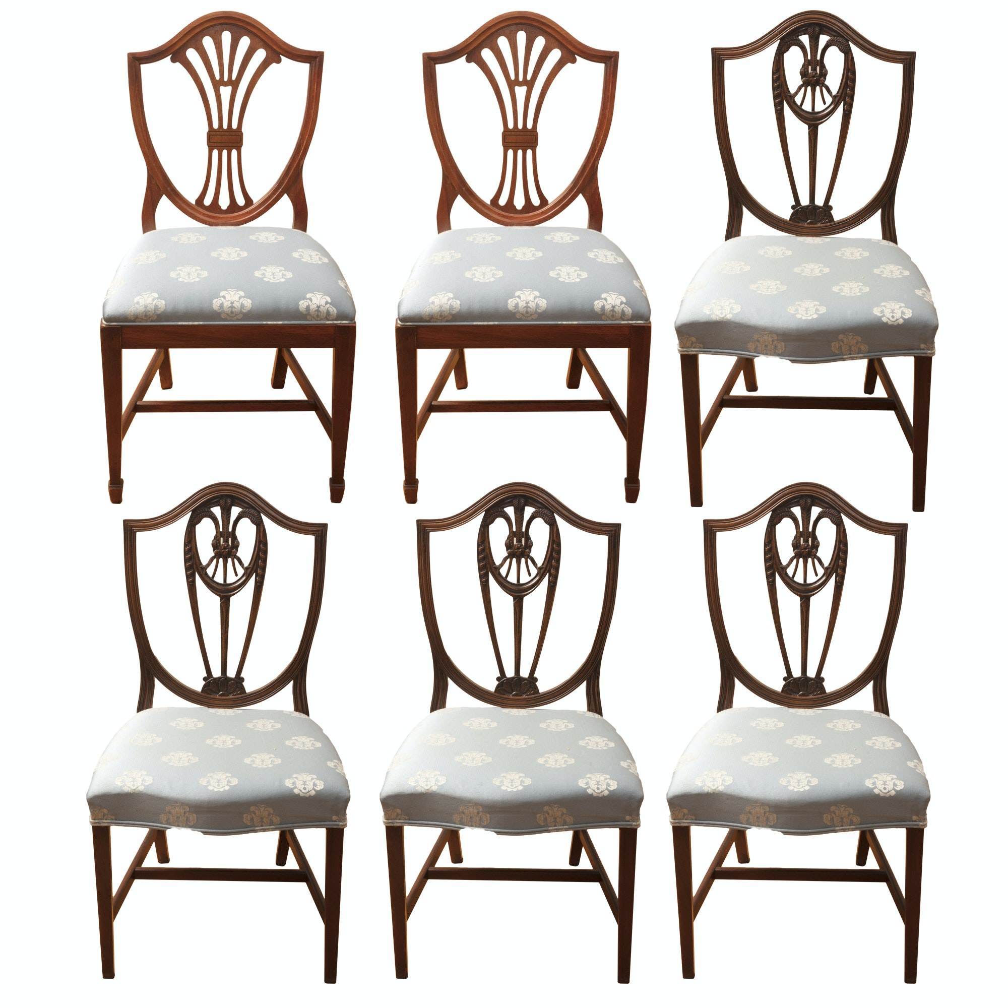 Hepplewhite Style Mixed Set Dining Side Chairs