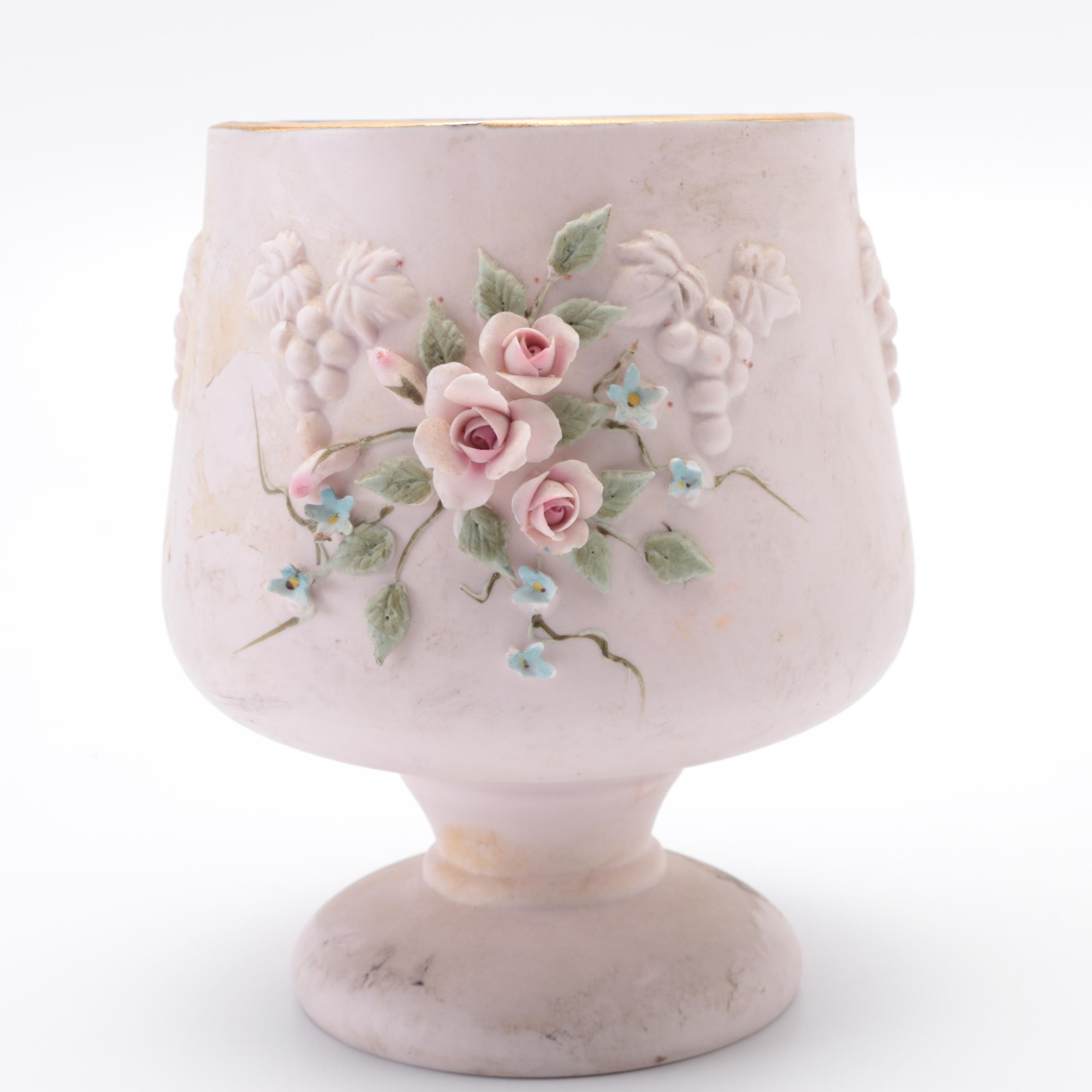 Hand-Painted Floral Footed Vase by Lefton China
