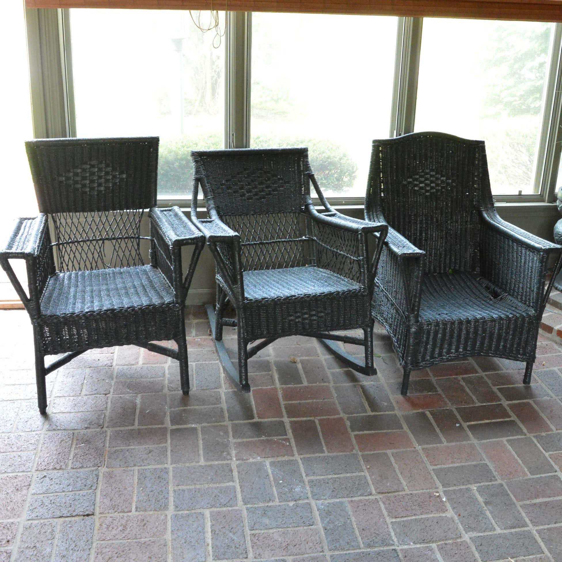 Three Wicker Patio Chairs