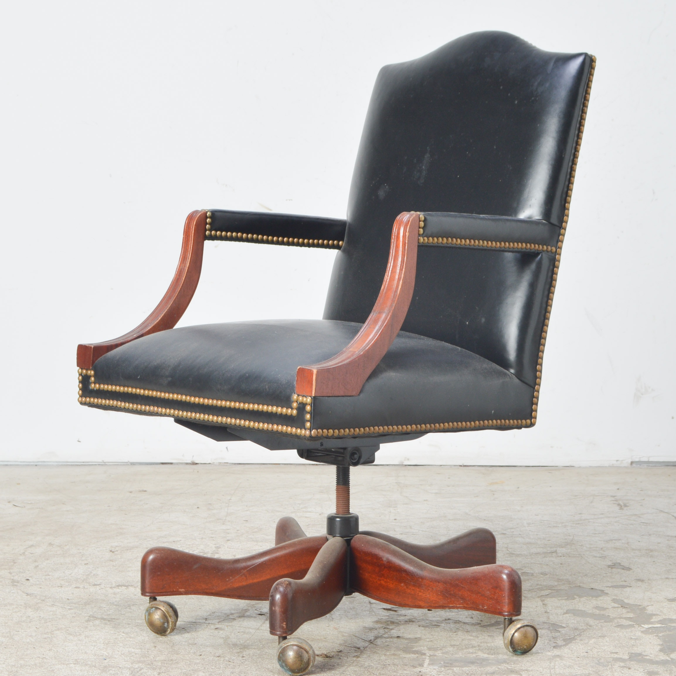 Faux Leather and Wood Office Chair