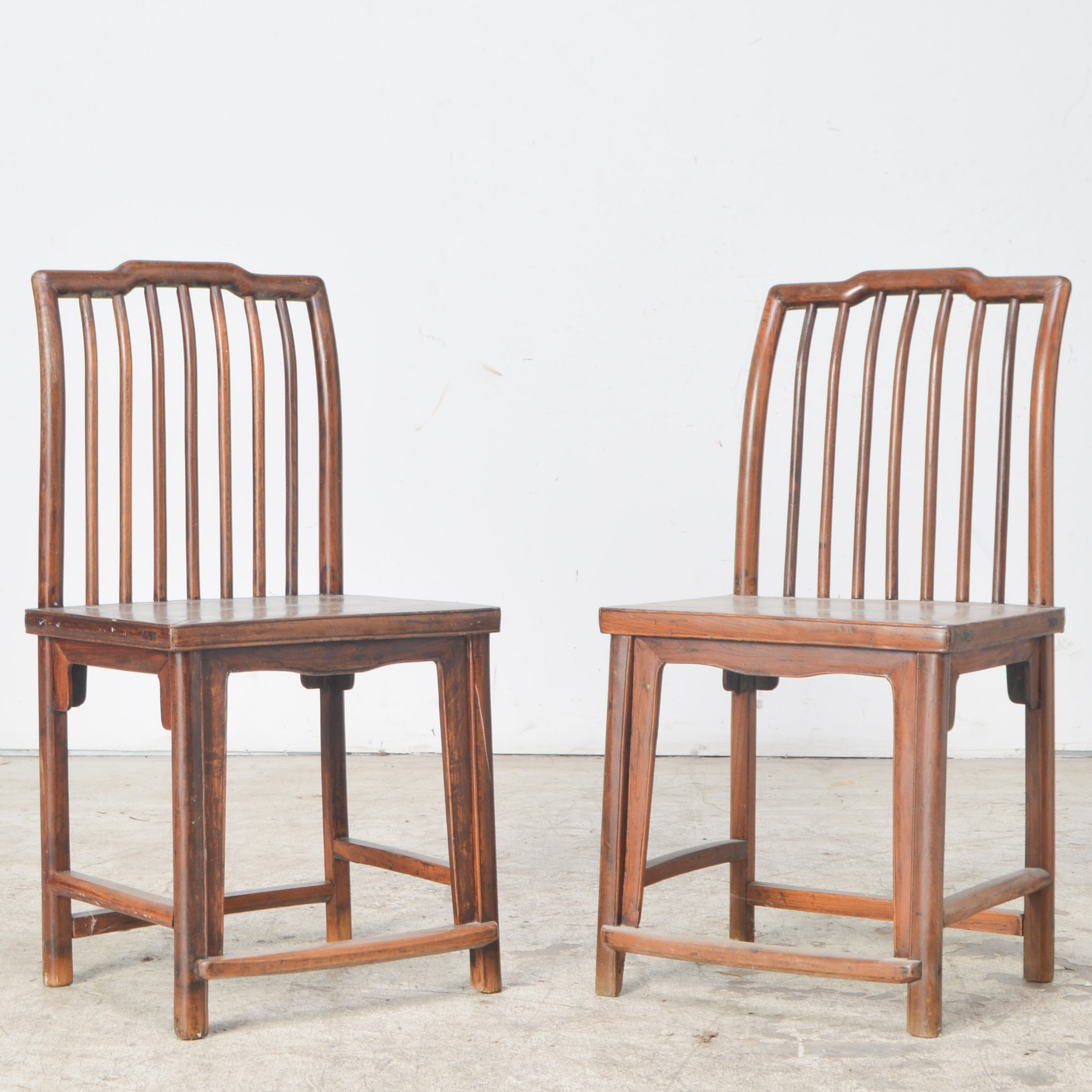 Walnut Spindle-Back Side Chairs