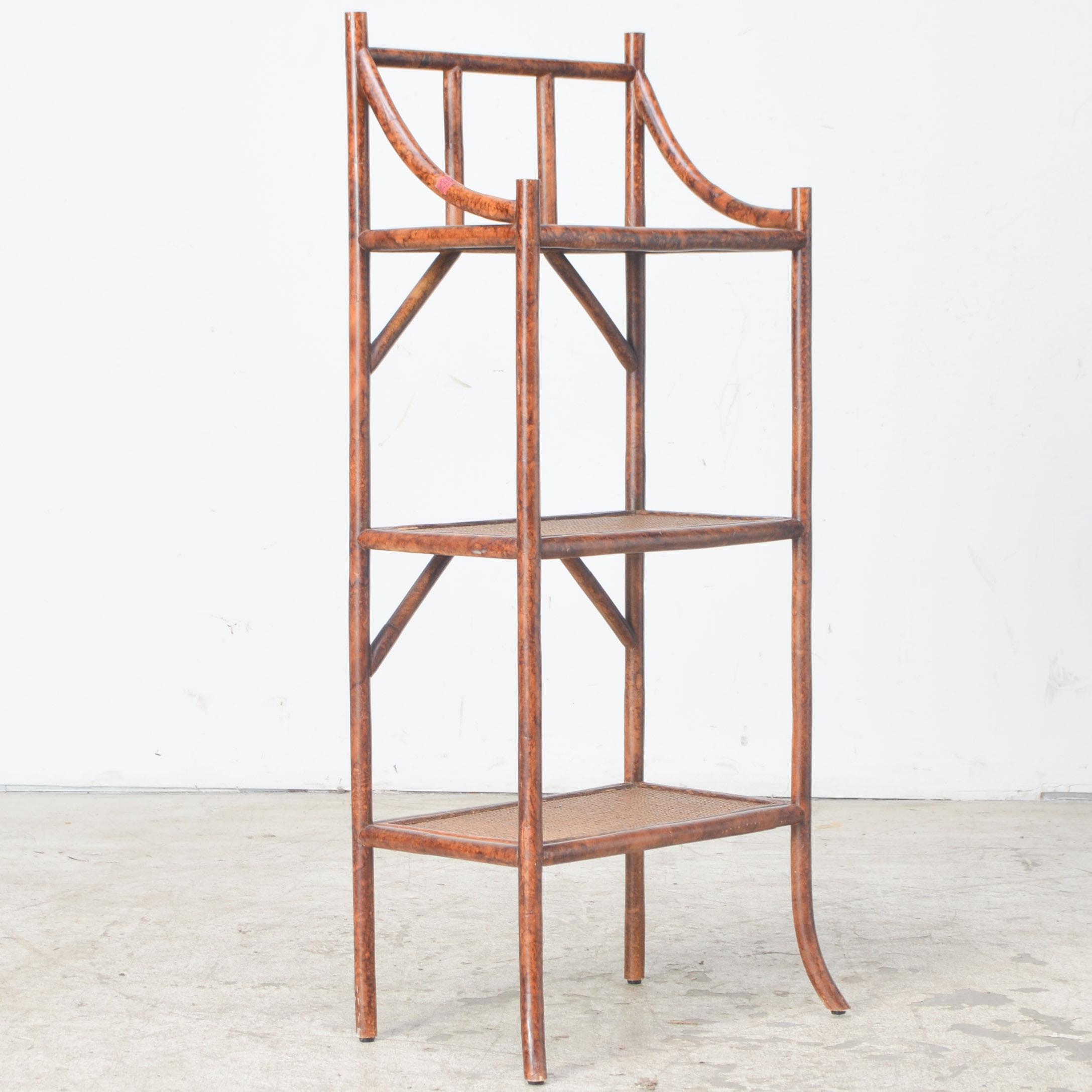 Woven Fiber and Bamboo Shelf