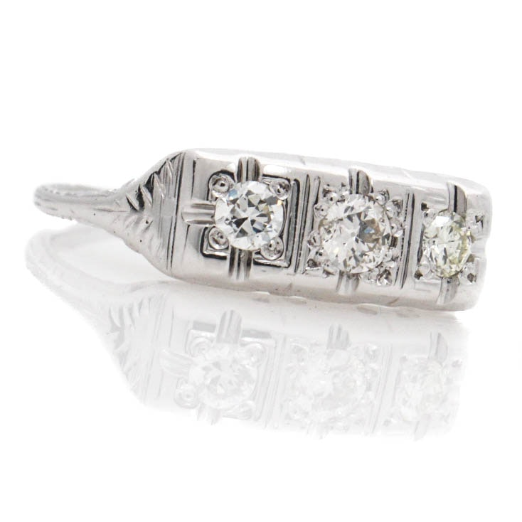 18K White Gold Diamond Ring with Platinum Plated Setting