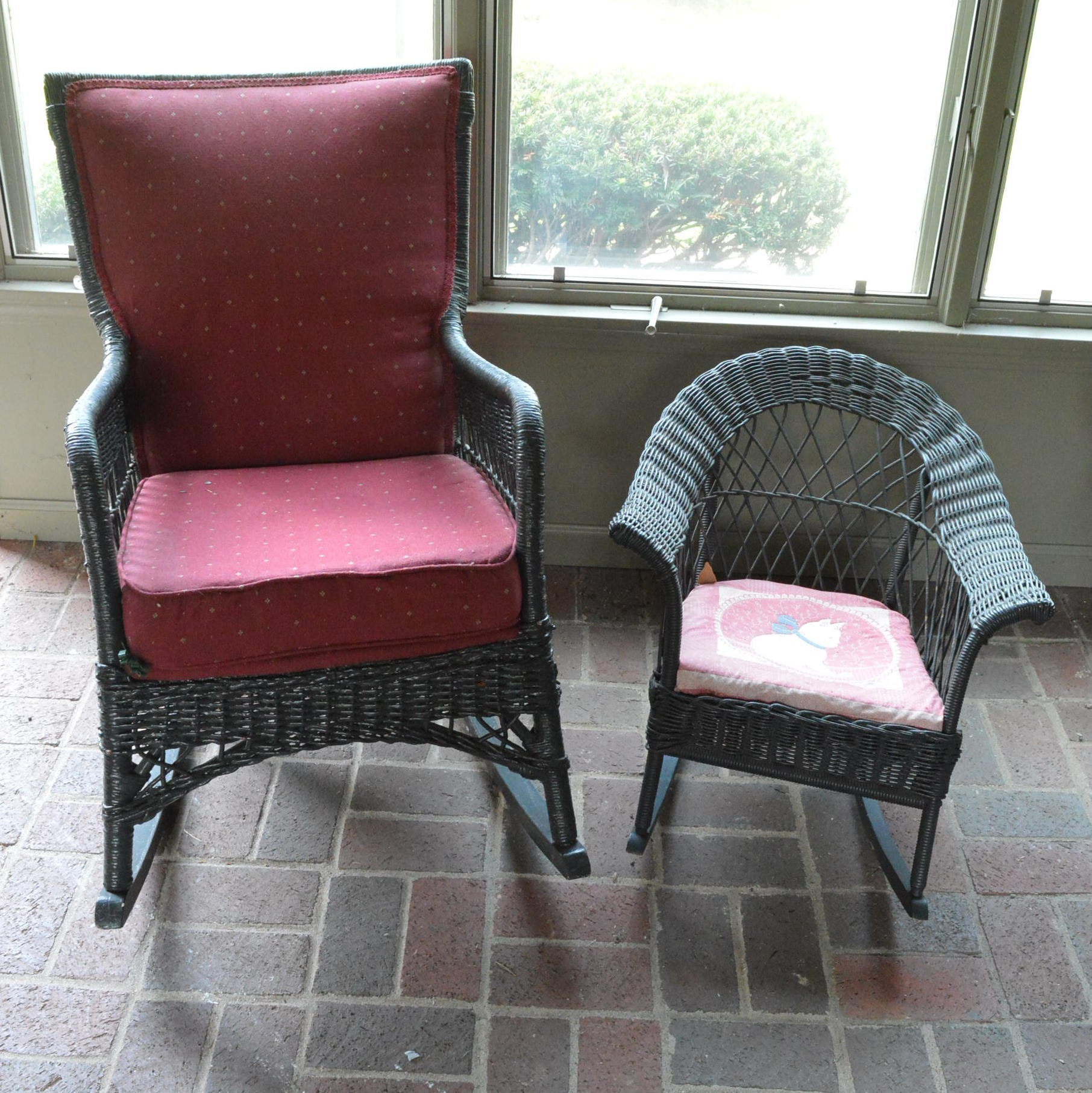 Pairing of Wicker Rocking Chairs