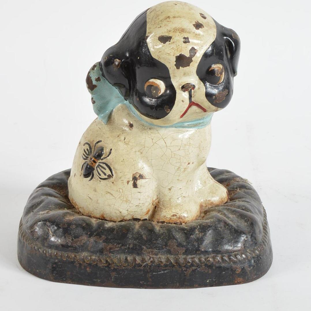 Antique Cast Iron Puppy Bank Ebth
