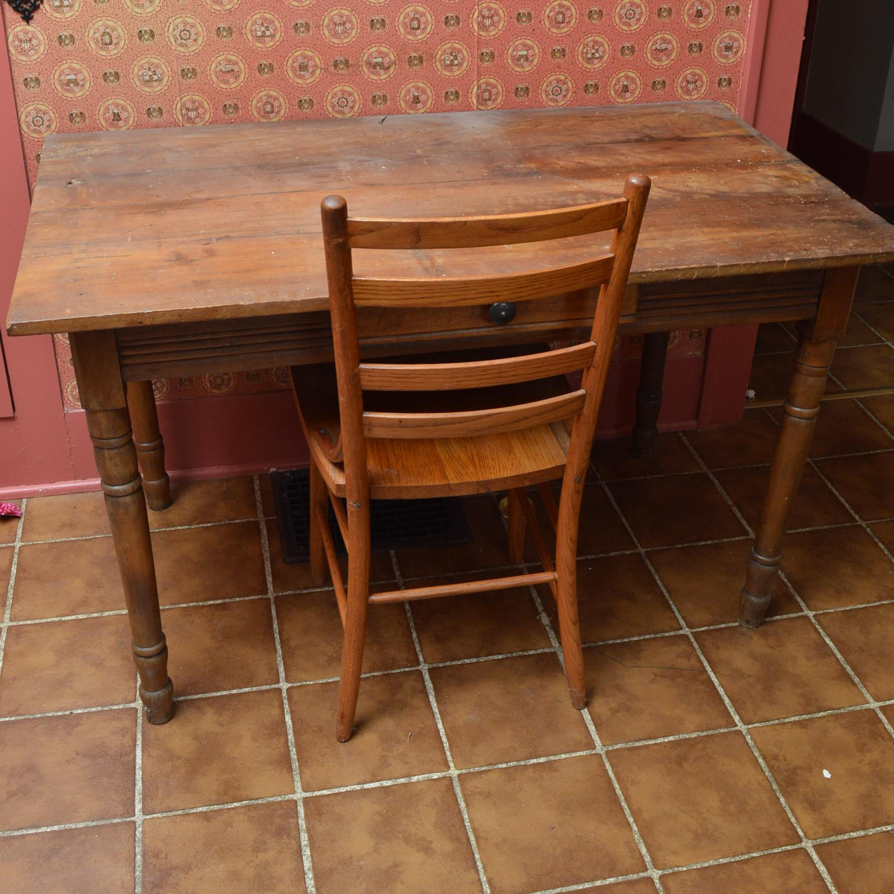 Antique Table with Pine Chair