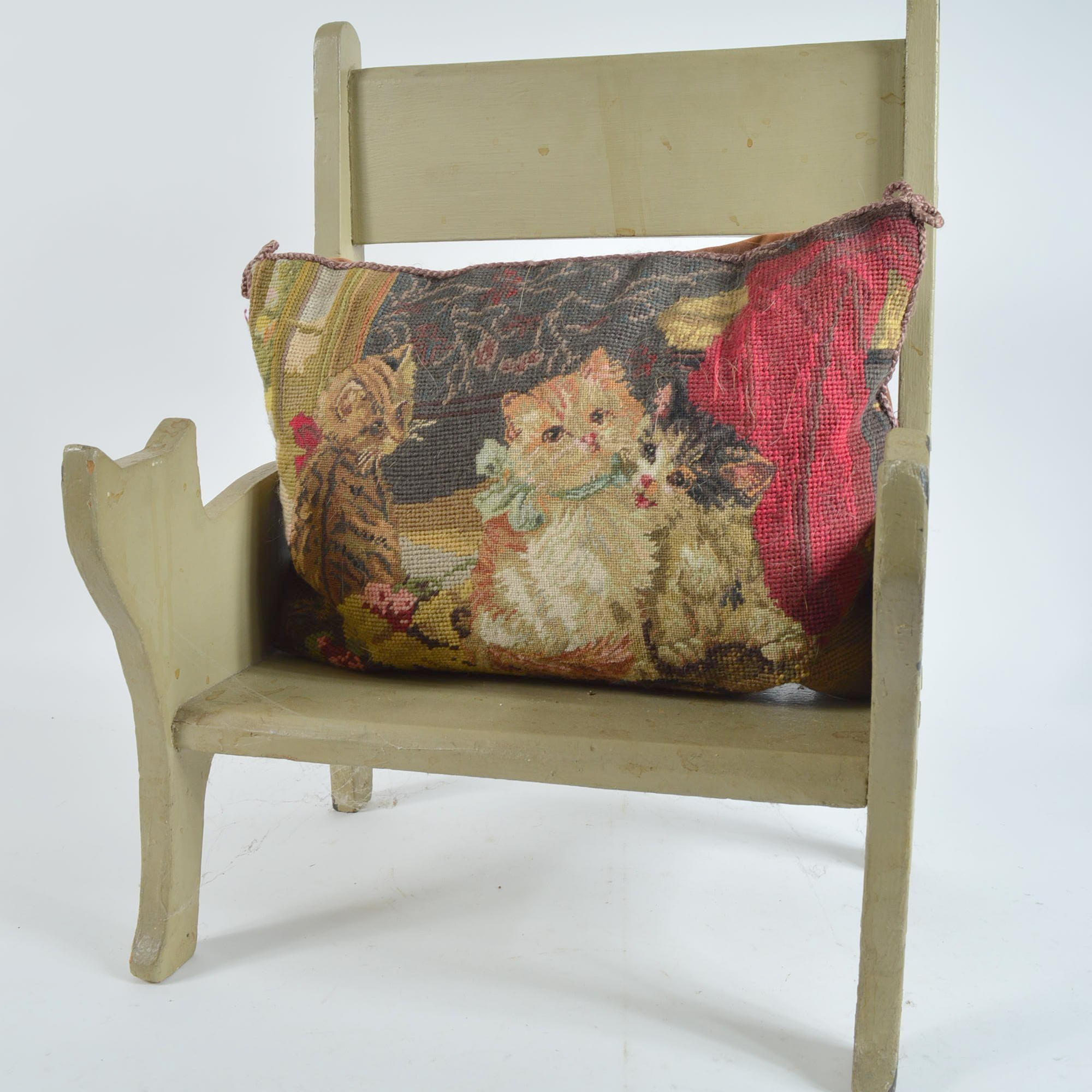 Cat Themed Child's Chair with Needlepoint Pillow