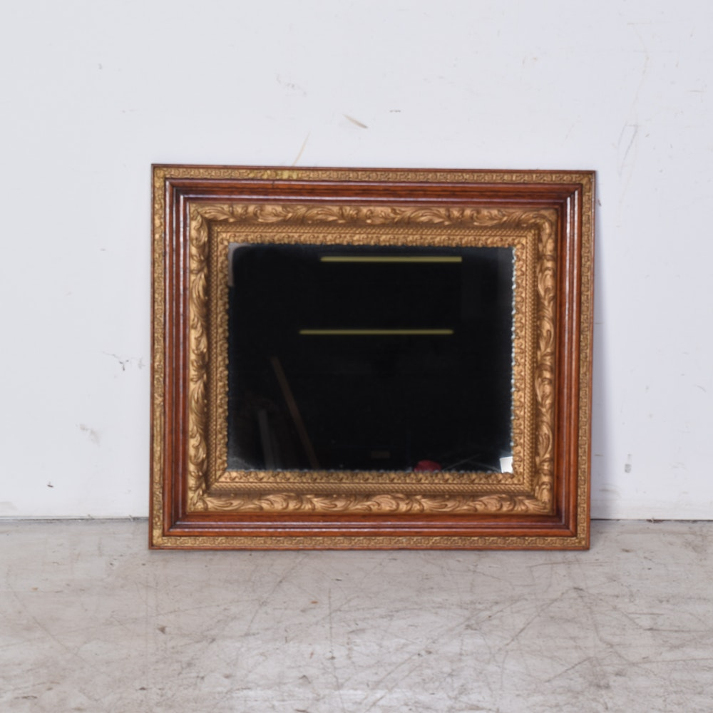 Antique Mirror with Wood and Gilt Painted Frame