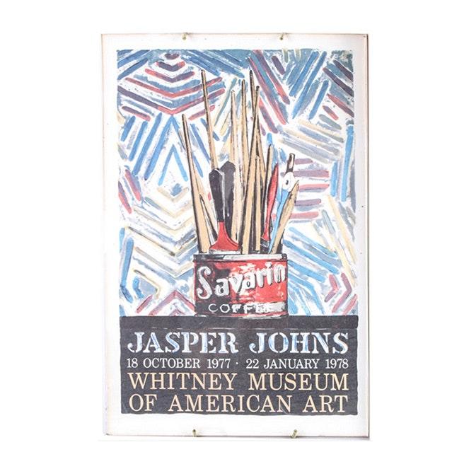 "1977 Whitney Museum Offset Lithograph Poster After Jasper Johns ""Savarin"""