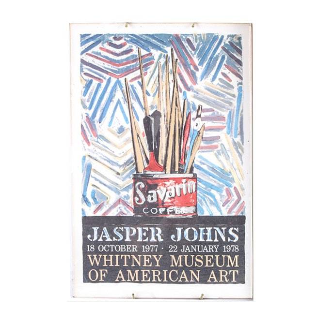 "1977 Whitney Museum Offset Lithograph Poster After Jasper Johns ""Savarin"""