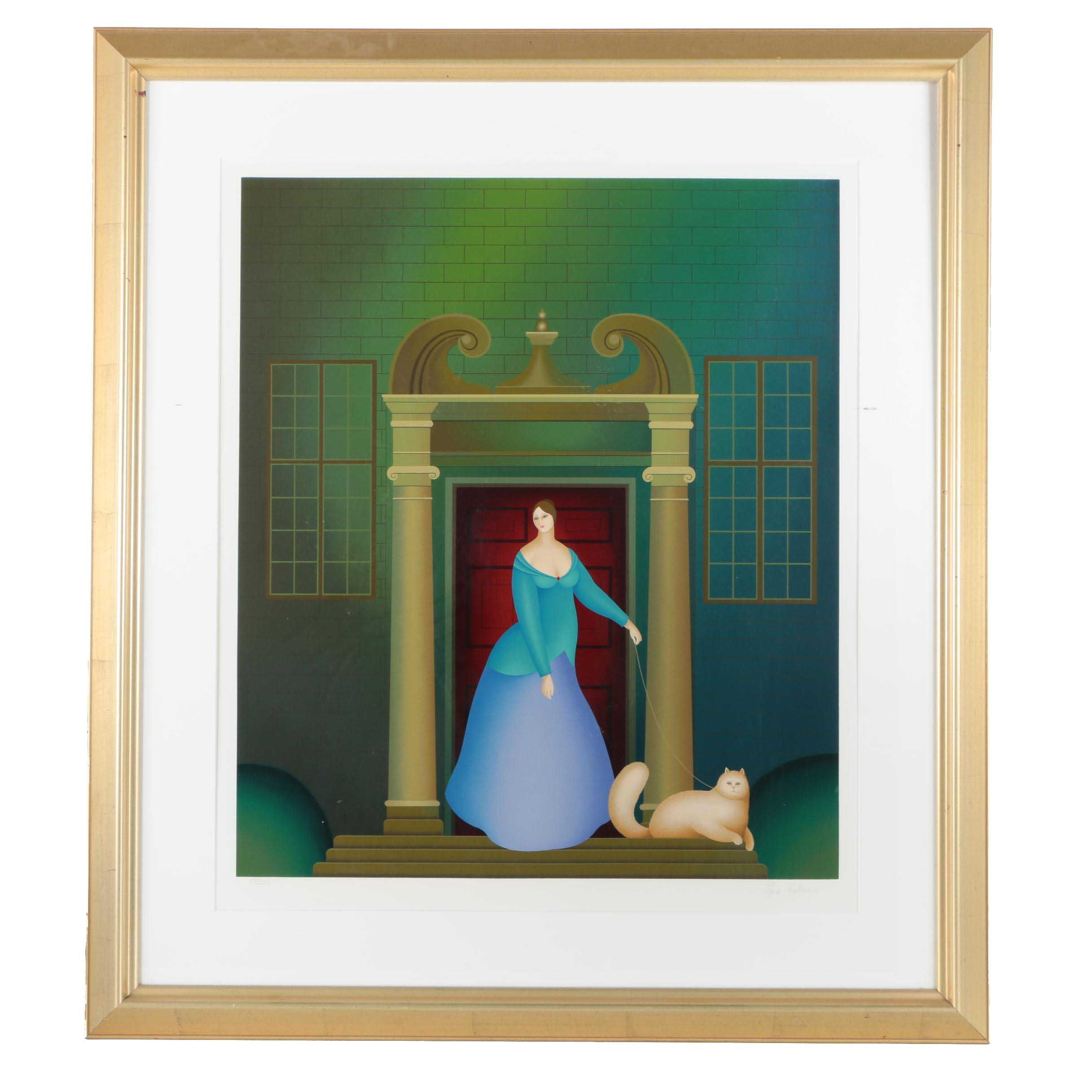Igor Galanin Limited Edition Serigraph on Paper of a Woman and Cat