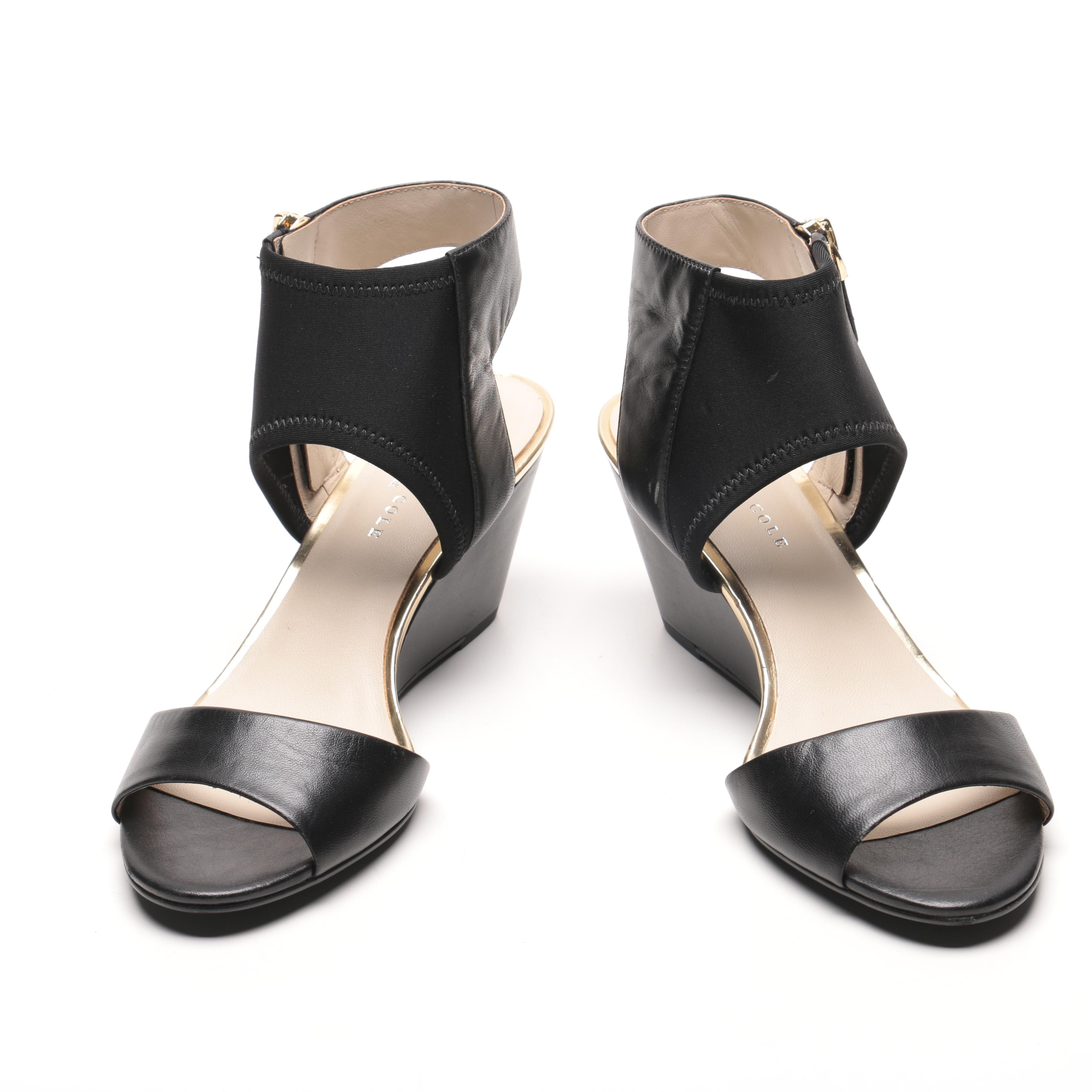Kenneth Cole Black Leather Wedge Sandals