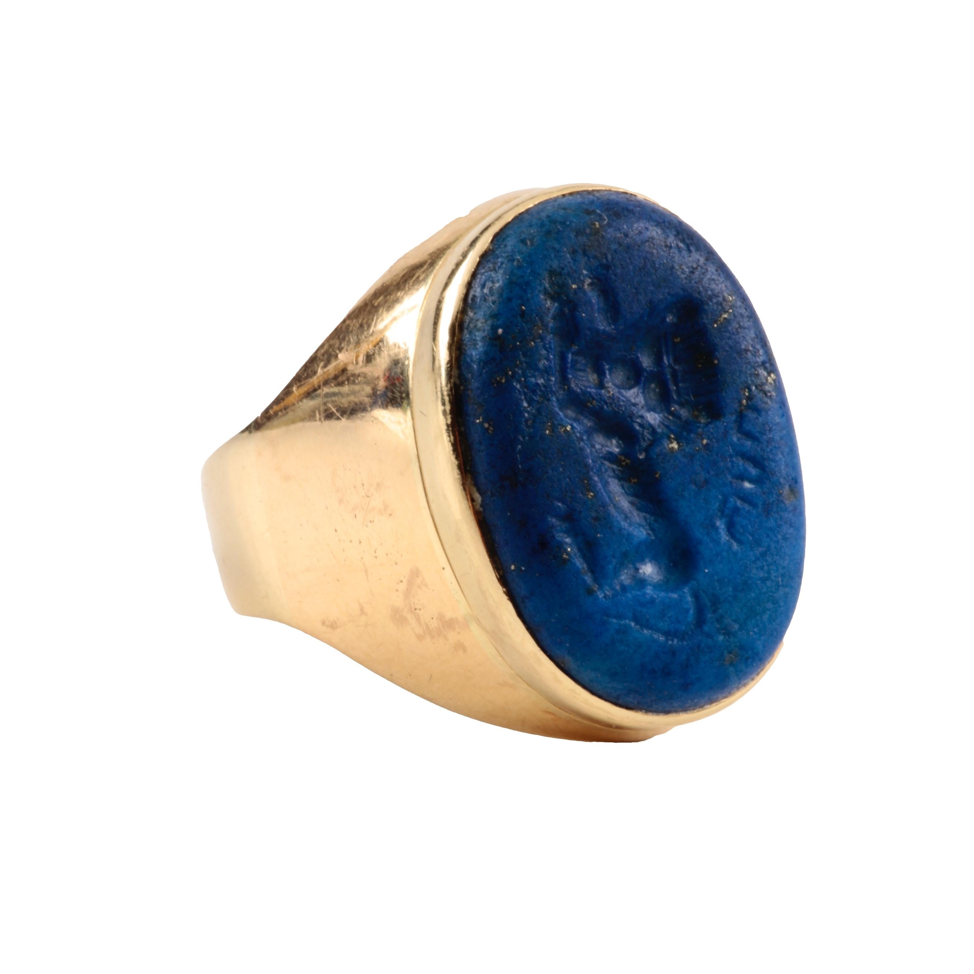 Dr. Schuller's 14K Yellow Gold Lapis Lazuli Intaglio Seal Ring