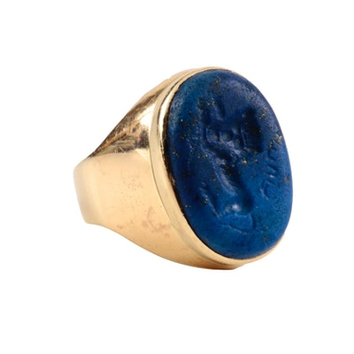 Dr. Schuller's 14K Yellow Gold Lapis Lazuli Intaglio Seal Ring