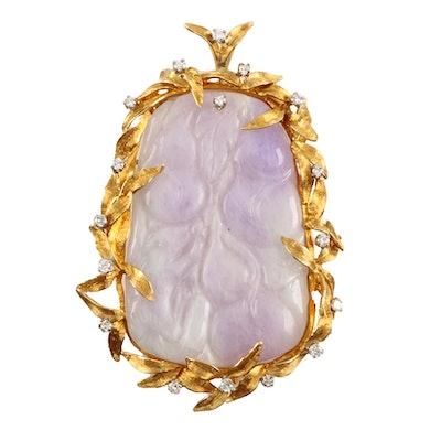 18K Yellow Gold Jadeite and Diamond Pendant