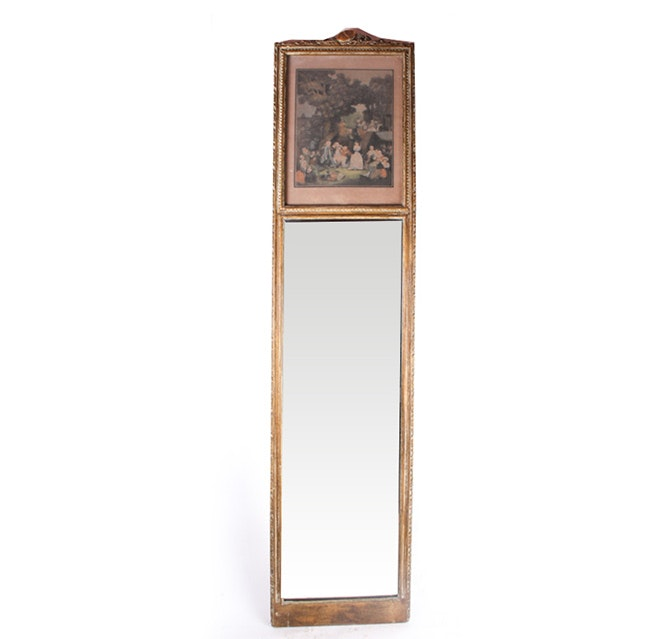 Vintage Wall Mirror with Lithograph