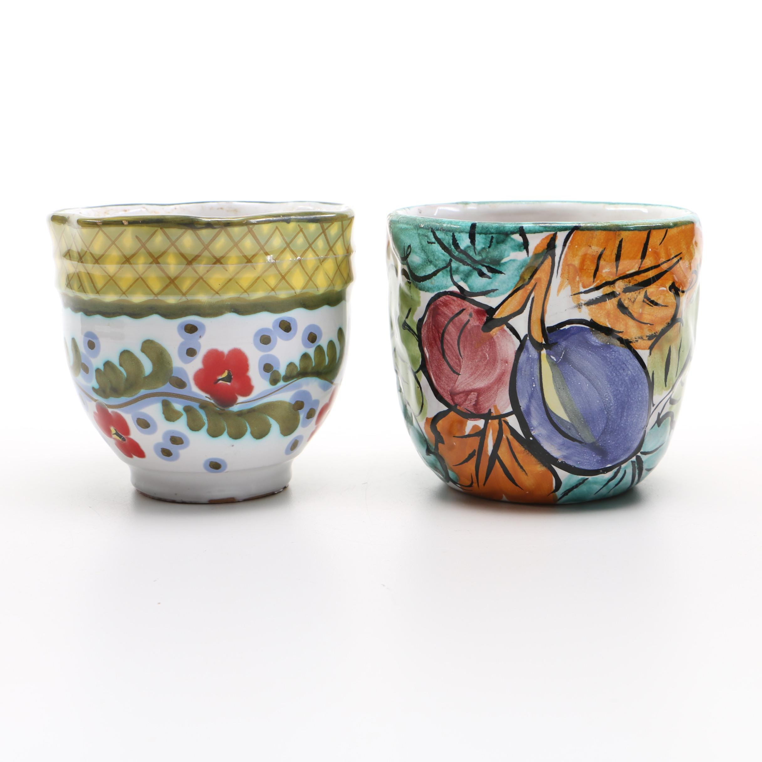 Two Hand-Painted Italian Ceramic Cachepots